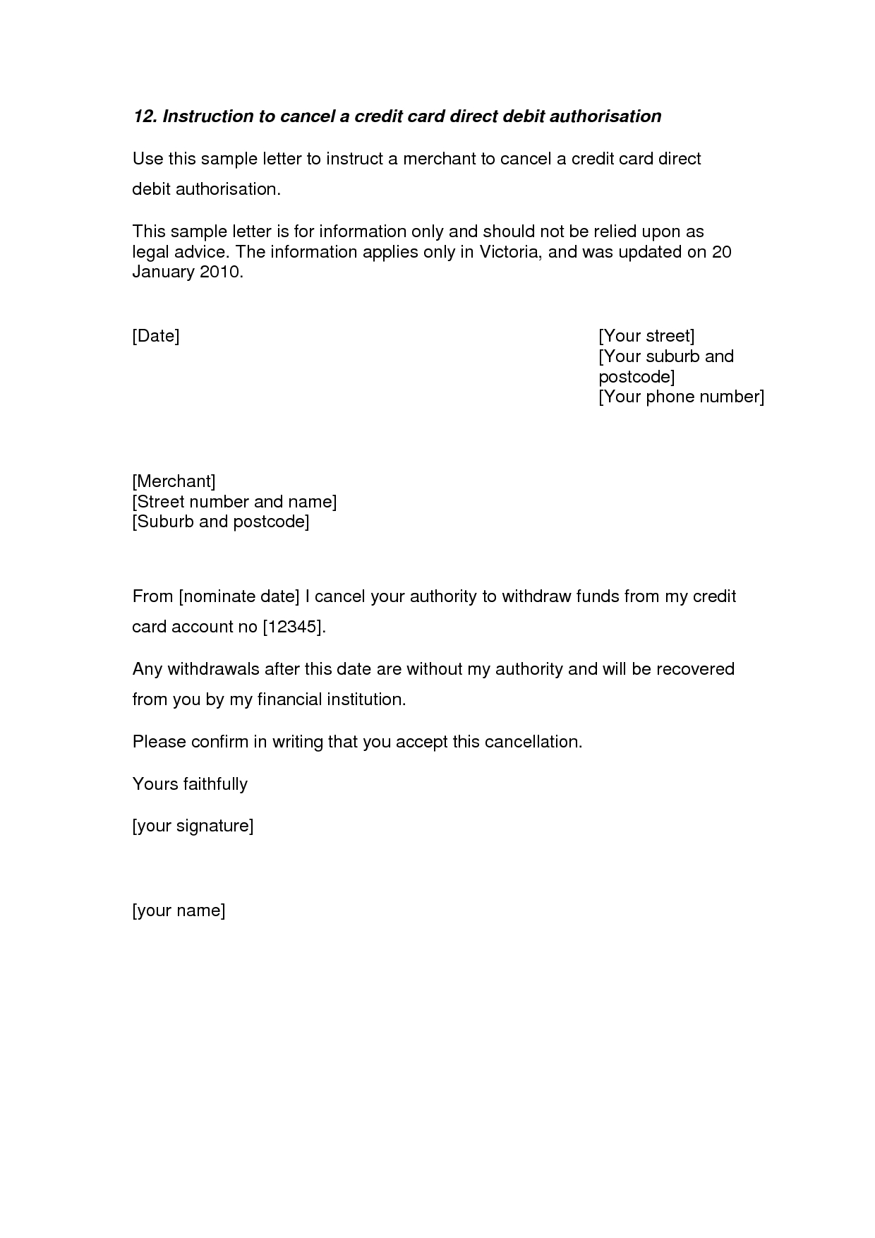Cancel Service Contract Letter Template - Credit Card Cancellation Letter A Credit Card Cancellation Letter