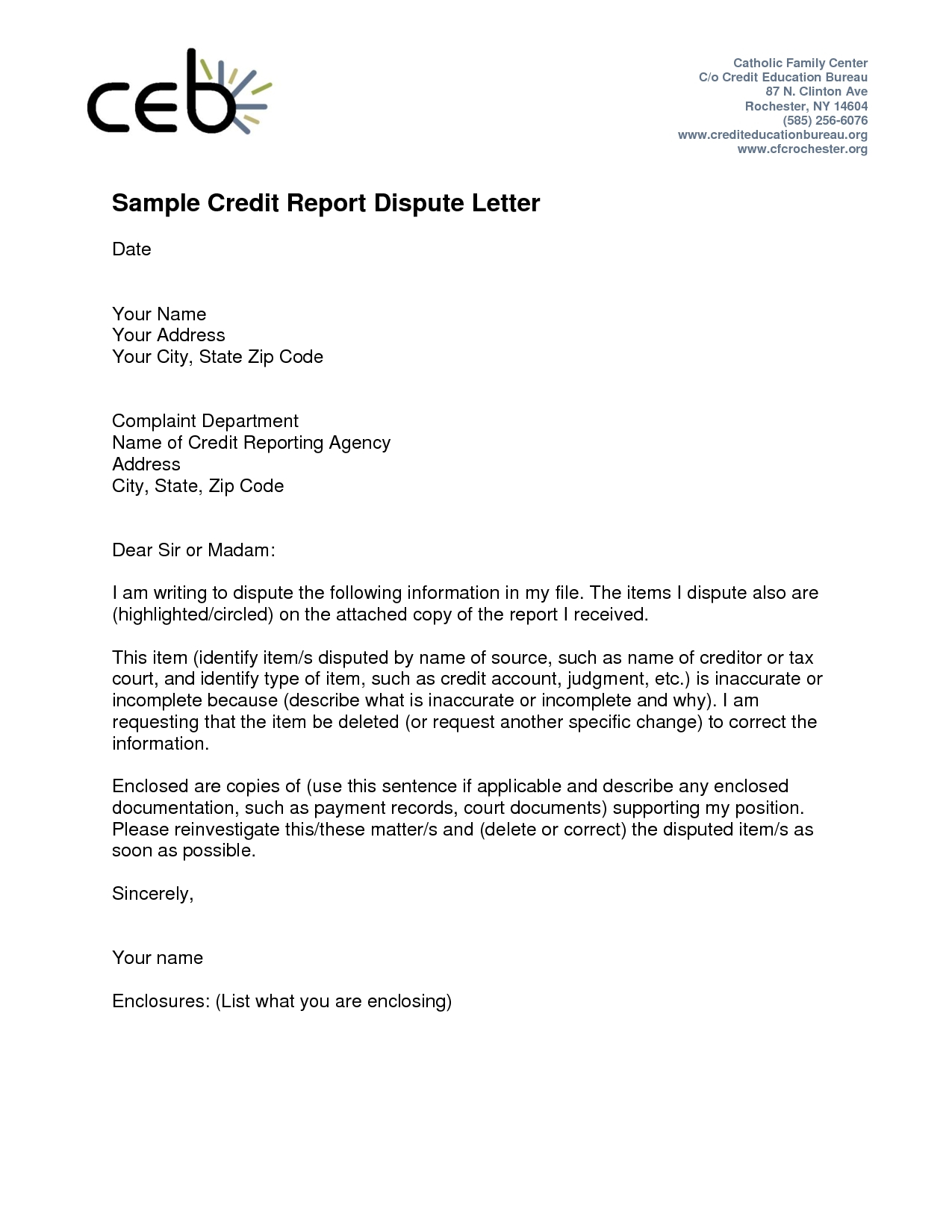 collection dispute letter template example-credit dispute letter templates 11-p
