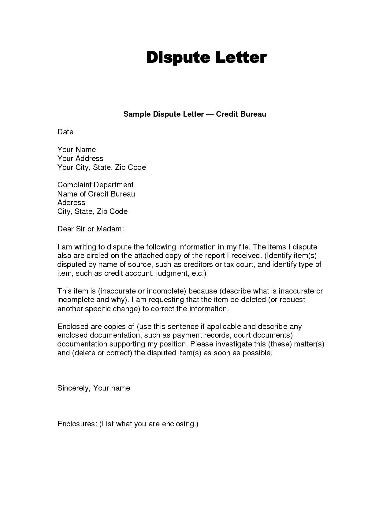 Credit Dispute Letter Template Pdf - Credit Dispute Letter Templates Acurnamedia