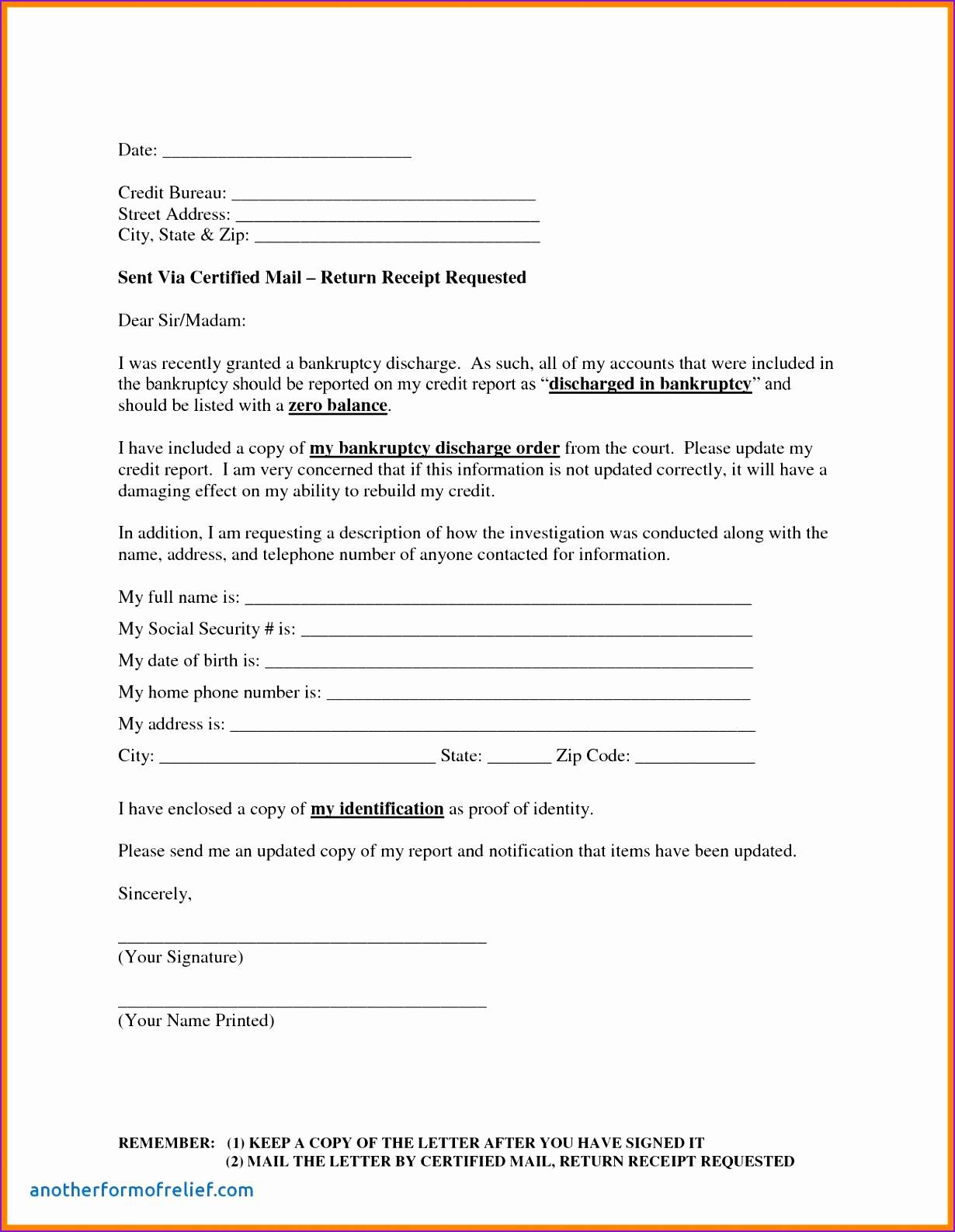 Template for Credit Report Dispute Letter - Credit Report Dispute Letter Template Fresh Credit Repair Letter