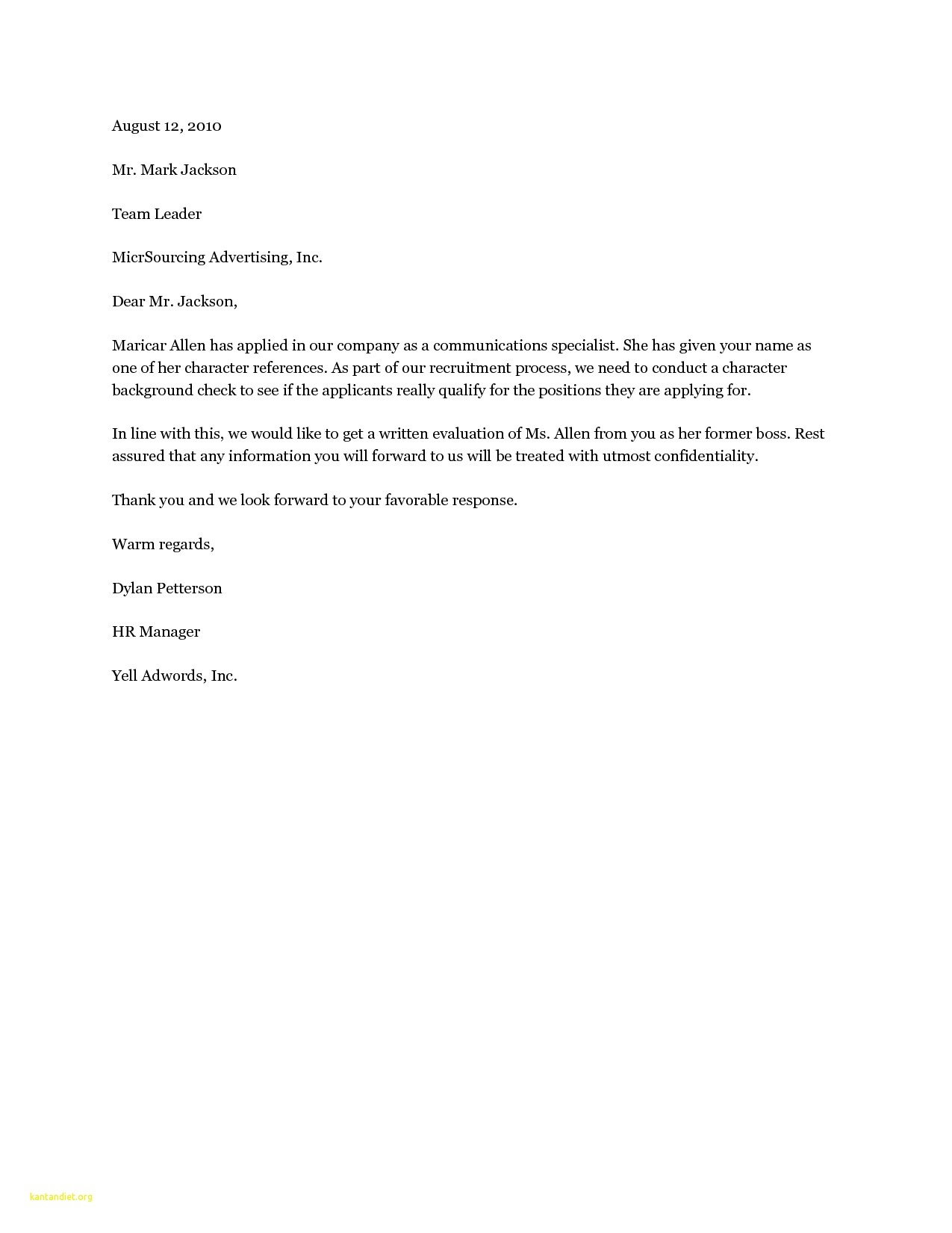 Personal Character Reference Letter Template - Dear Hiring Manager Cover Letter Sample 19 Cover Letter Template