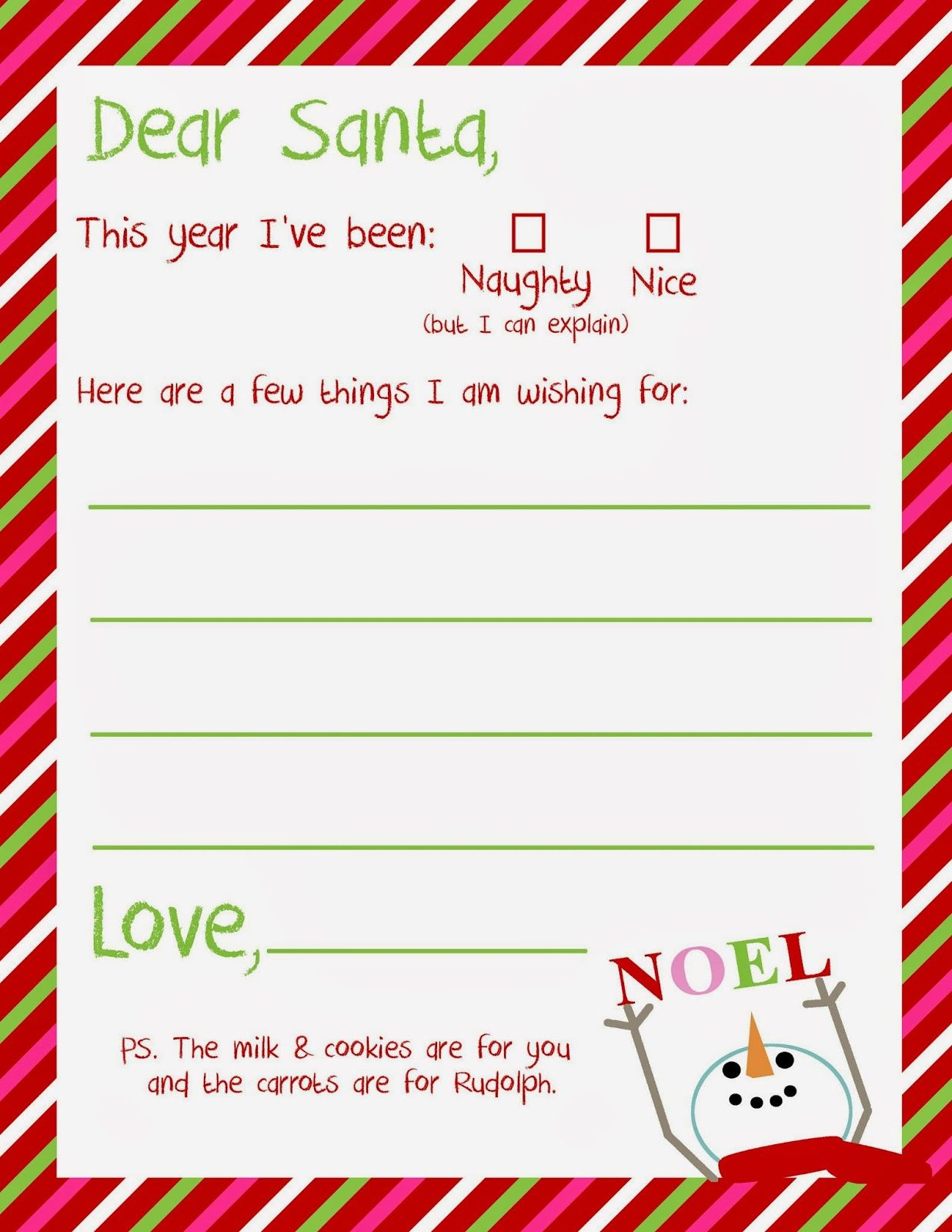 Free Printable Letter From Santa Template - Dear Santa Letter Printable