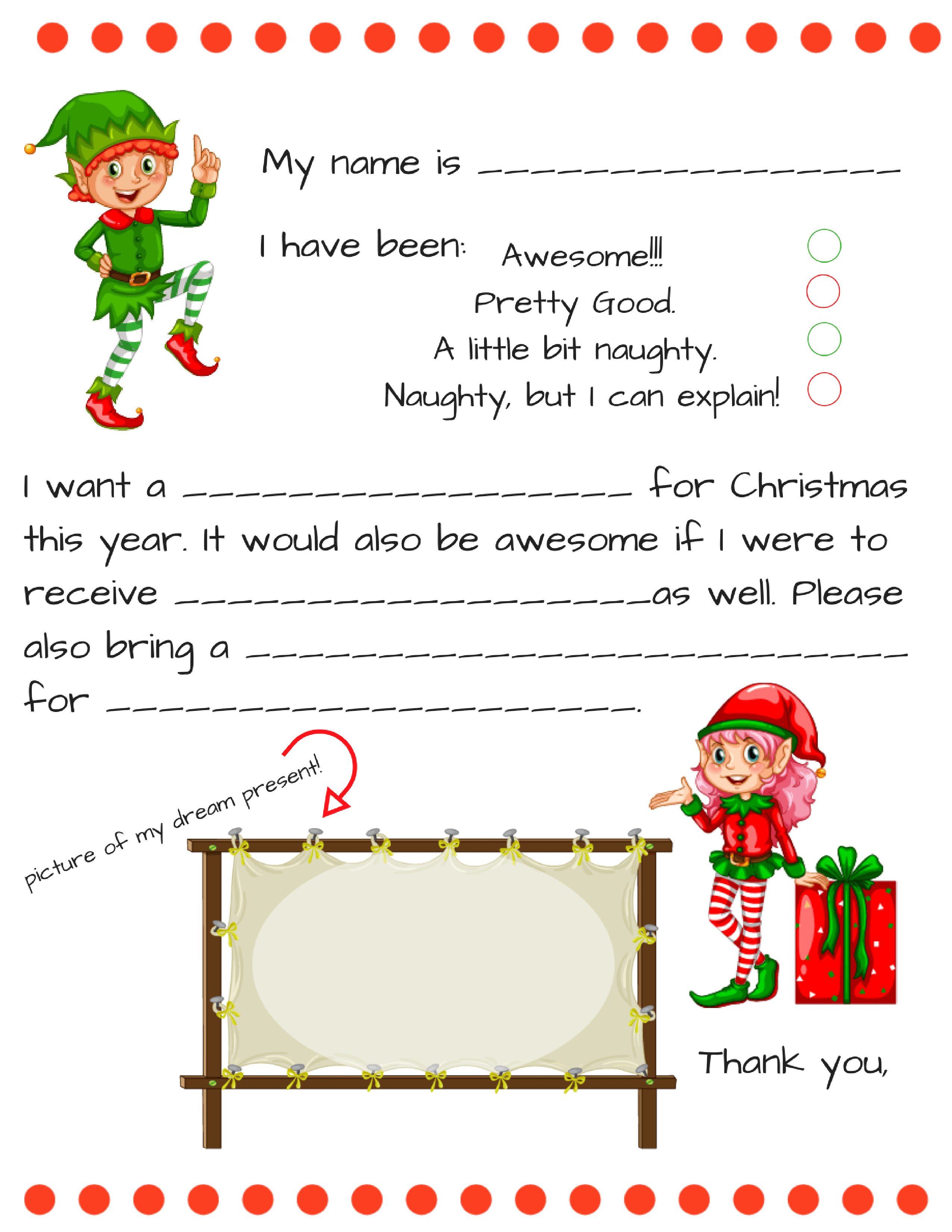 Letter From Santa Template Free Download - Dear Santa Letter Template