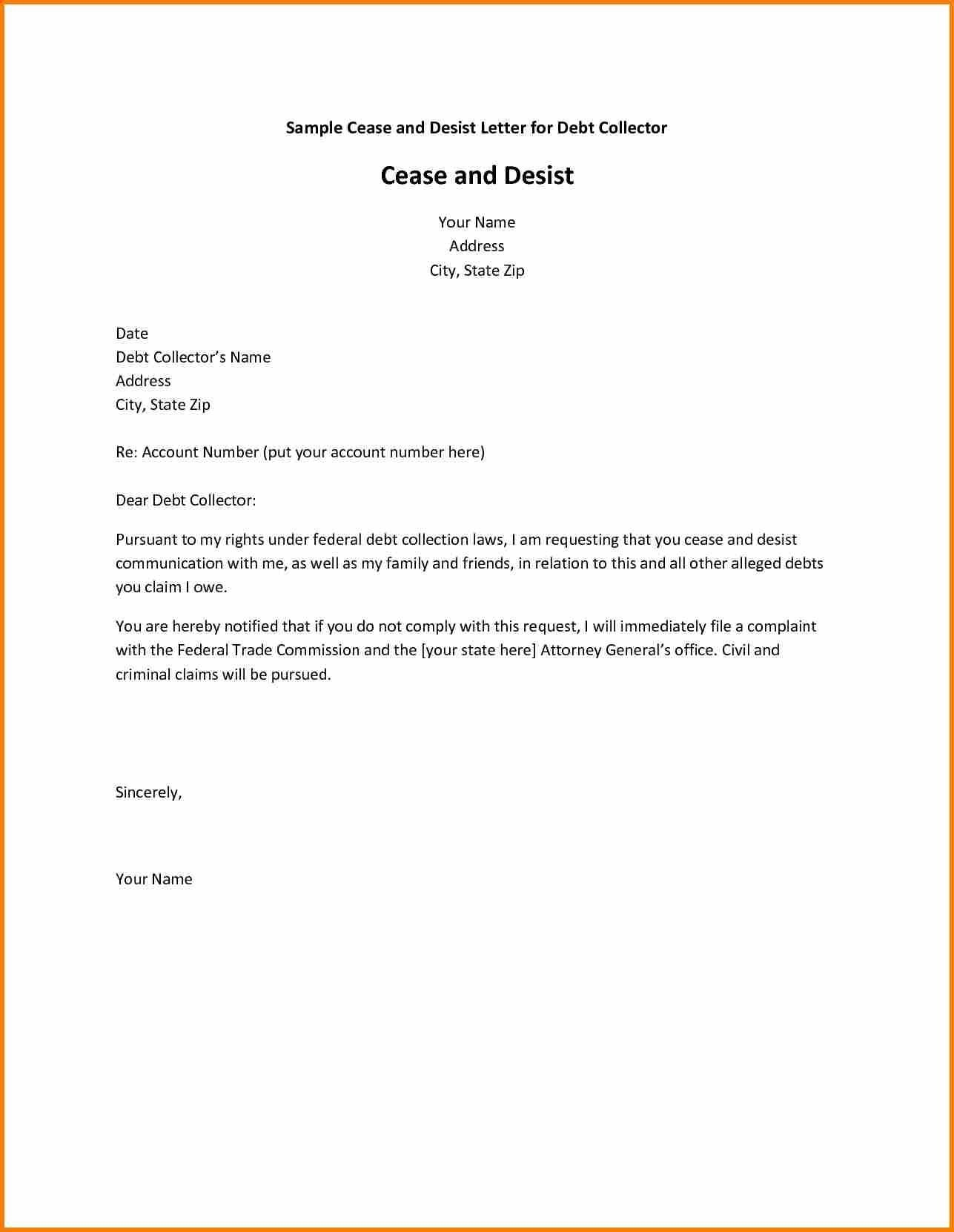 cease and desist collection letter template Collection-Debt Collection Cease and Desist Letter Template Copy Jury Duty Excuse Letter Refrence Cease and Desist 3-t