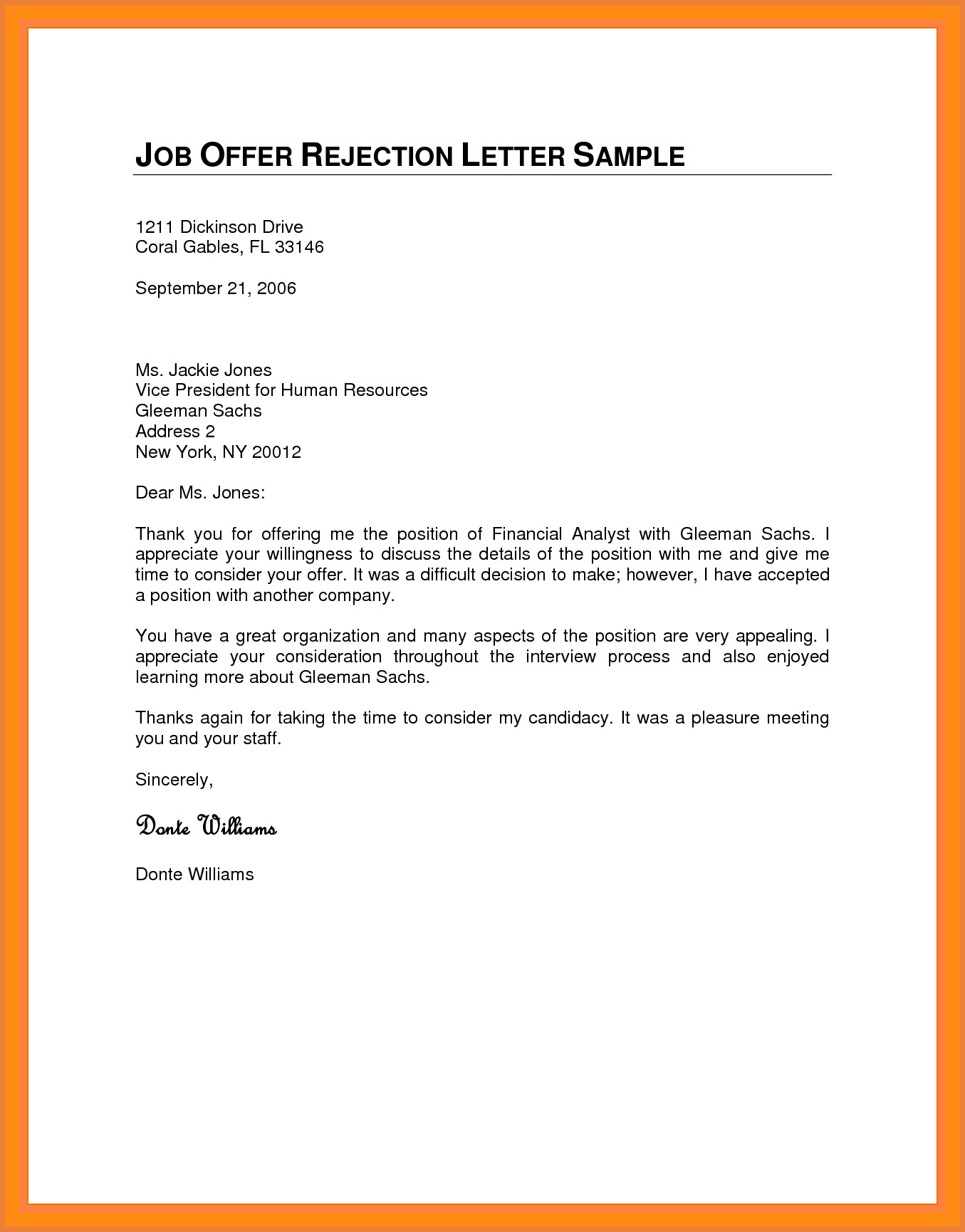 Job Offer Decline Letter Template Samples Letter Cover Templates