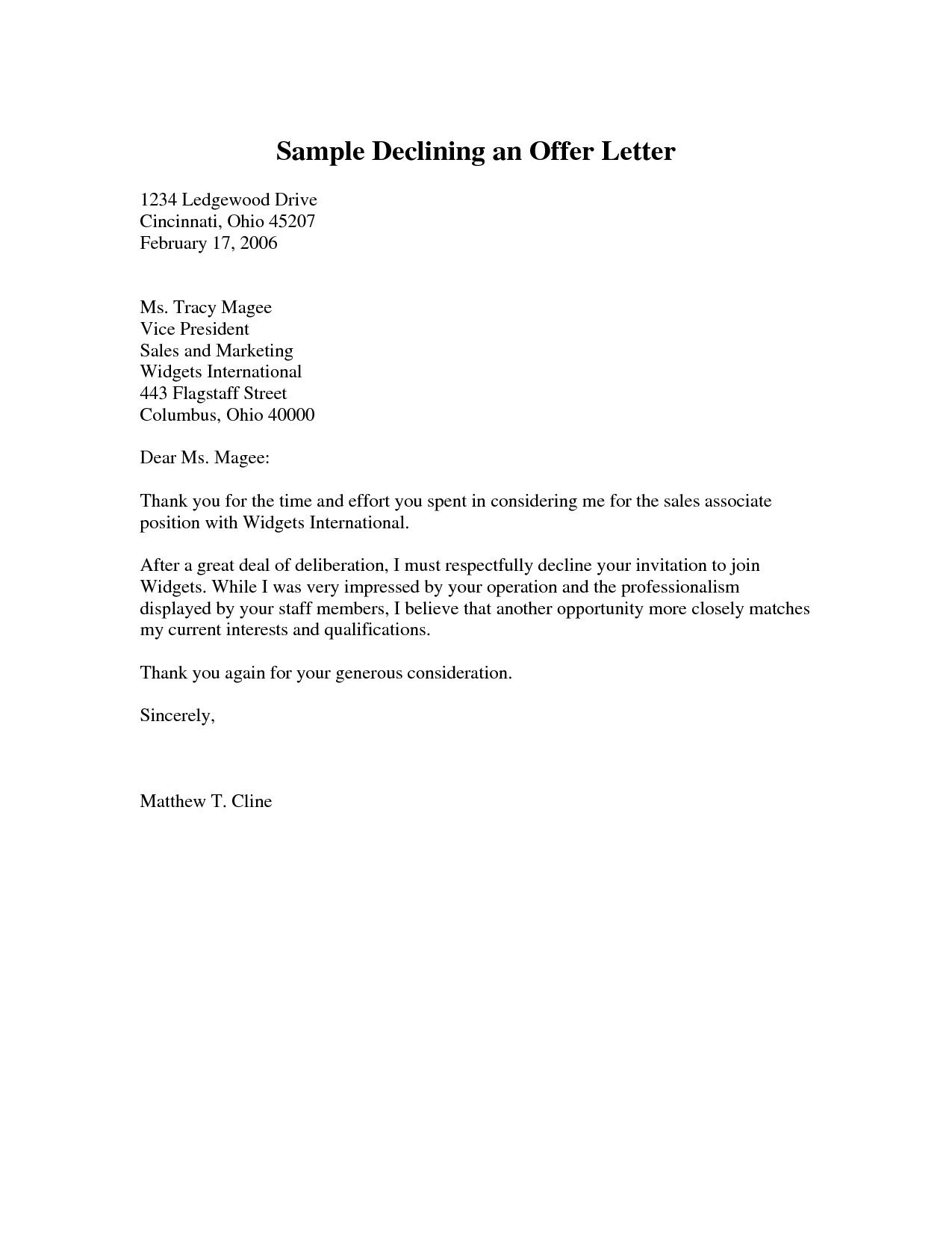 decline an offer of employment sample of rejection letter for offer howtoviews co 14081
