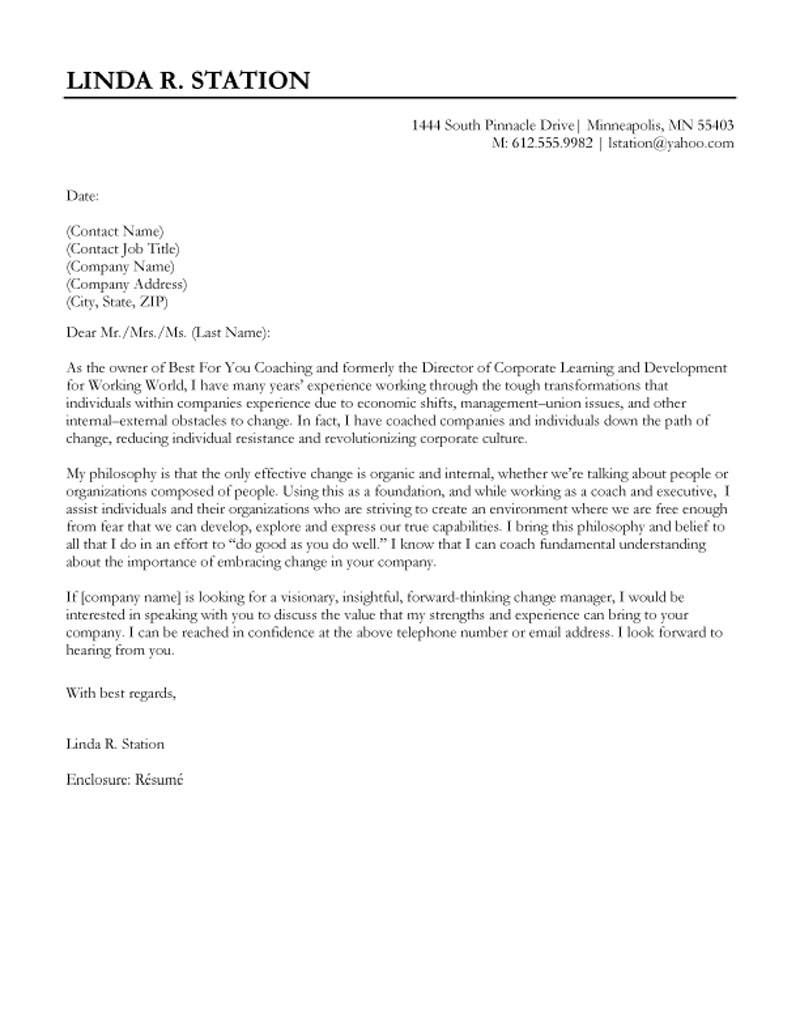 Business Presentation Letter Template - Director Of Corporate Learning and Development Cover Letter