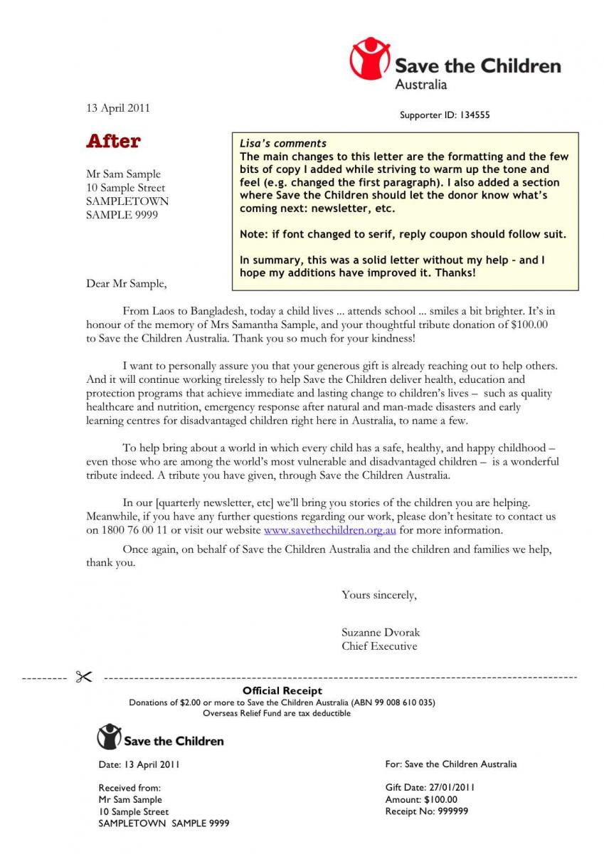 Acknowledgement Of Donation Letter Template - Donation Acknowledgement Letter