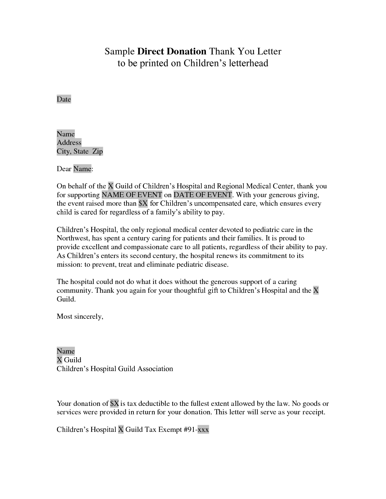 Sponsorship Letter Template for Donations - Donor Thank You Letter Sample