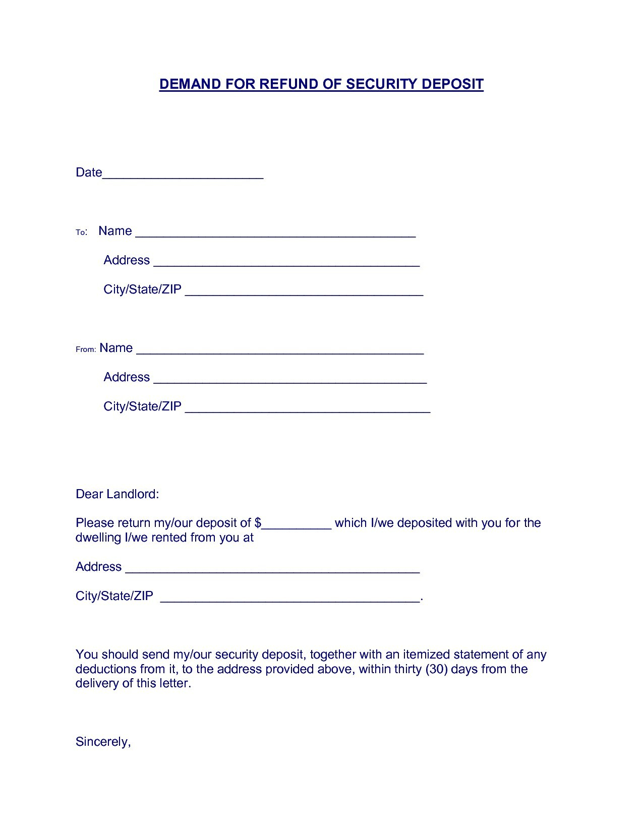 Security Deposit Demand Letter Template Florida - Download Free Template Security Deposit Return Letter Template