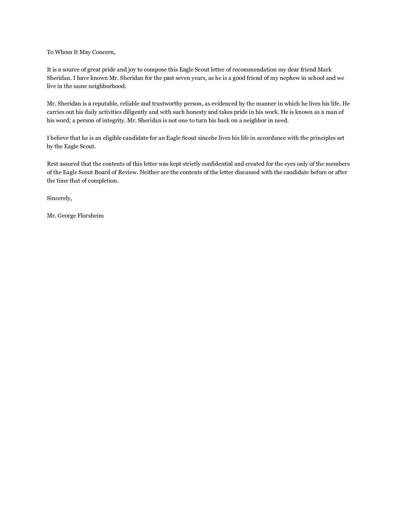 Personal Letter Of Recommendation for A Friend Template - Eagle Scout Parent Re Mendation Letter Template Acurnamedia