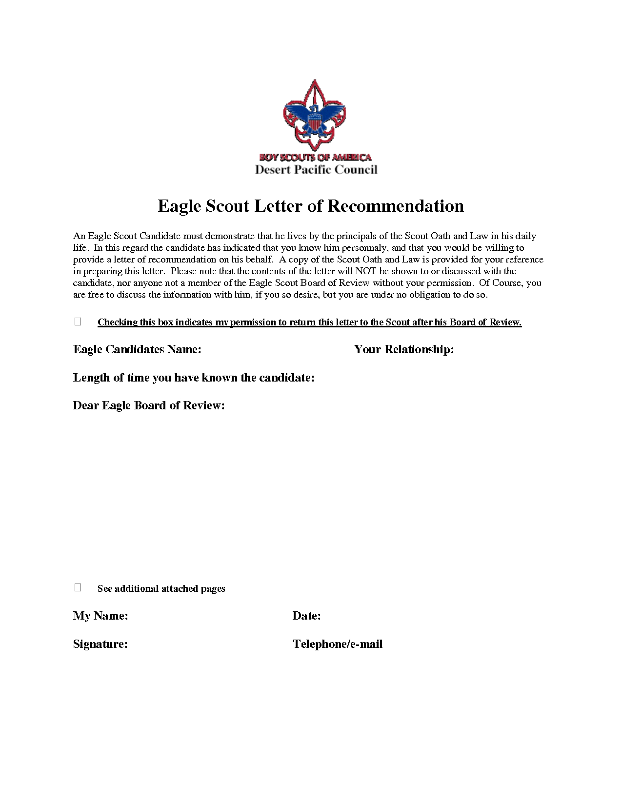 Eagle Scout Donation Letter Template - Eagle Scout Re Mendation Letter Sample