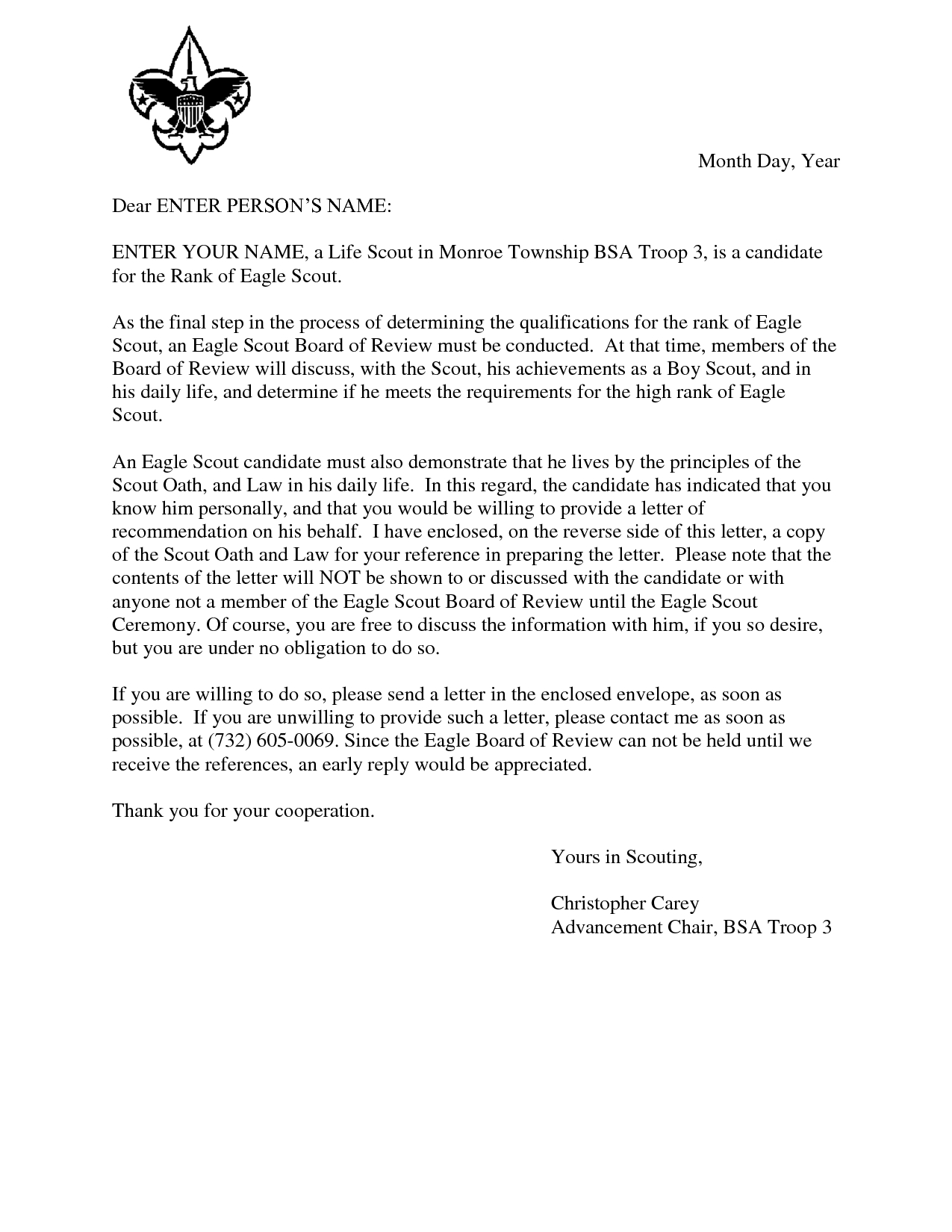 Letter Of Recommendation Template - Eagle Scout Reference Request Sample Letter Doc 7 by Hfr990q