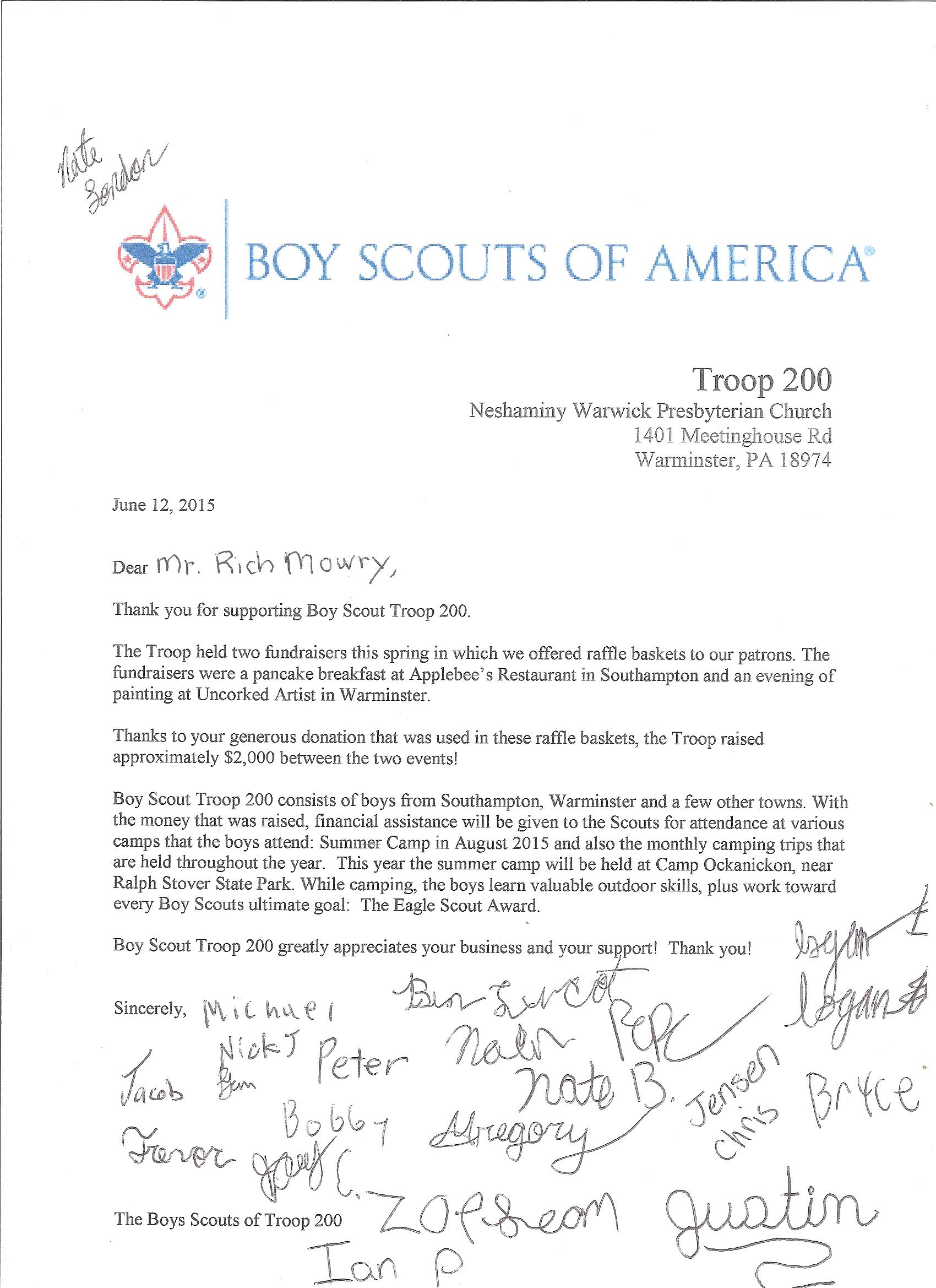 Eagle Scout Donation Letter Template - Eagle Scout Thank You Letter Choice Image Letter format formal Sample