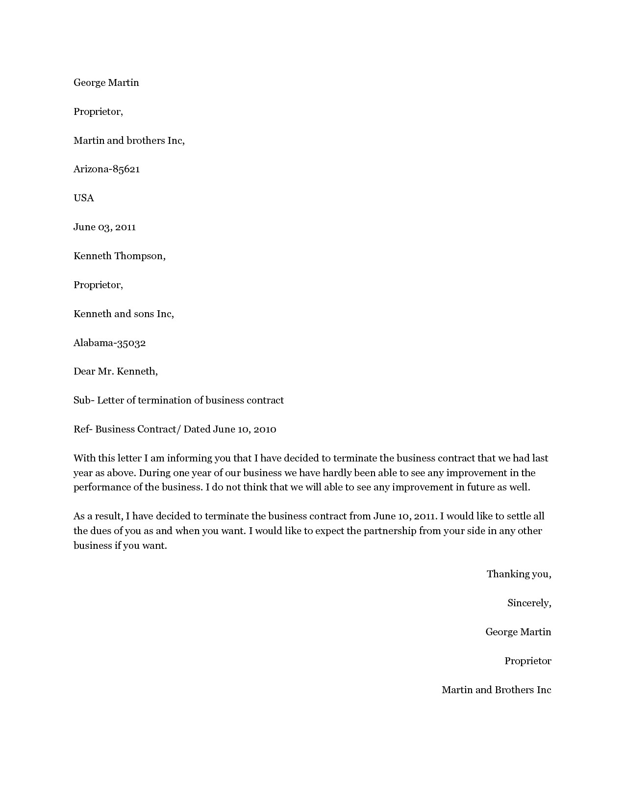 Business Termination Letter Template - Elplural Page 3 Of 54 Business Plan Template
