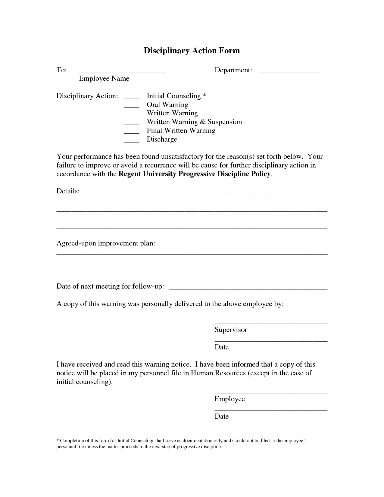 Write Up Letter for Employee Template - Employee Disciplinary Write Up Template