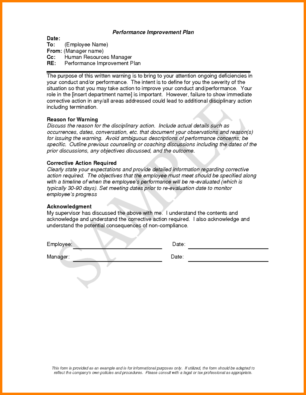 Performance Improvement Plan Letter Template - Employee Improvement Plan form Bing Images
