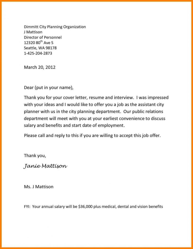 Opt Offer Letter Template - Employment Fer Letter Template Awesome Collection Samples
