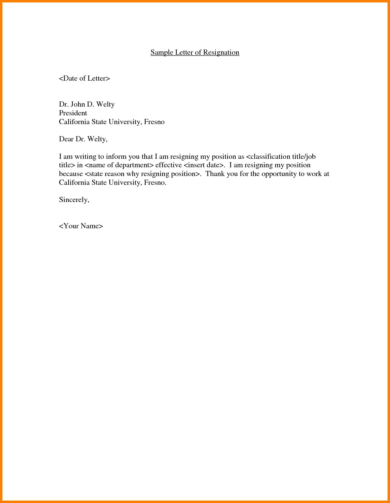 Basic Resignation Letter Template - Employment Fer Letter Template Doc Copy Resignation Letter Sample