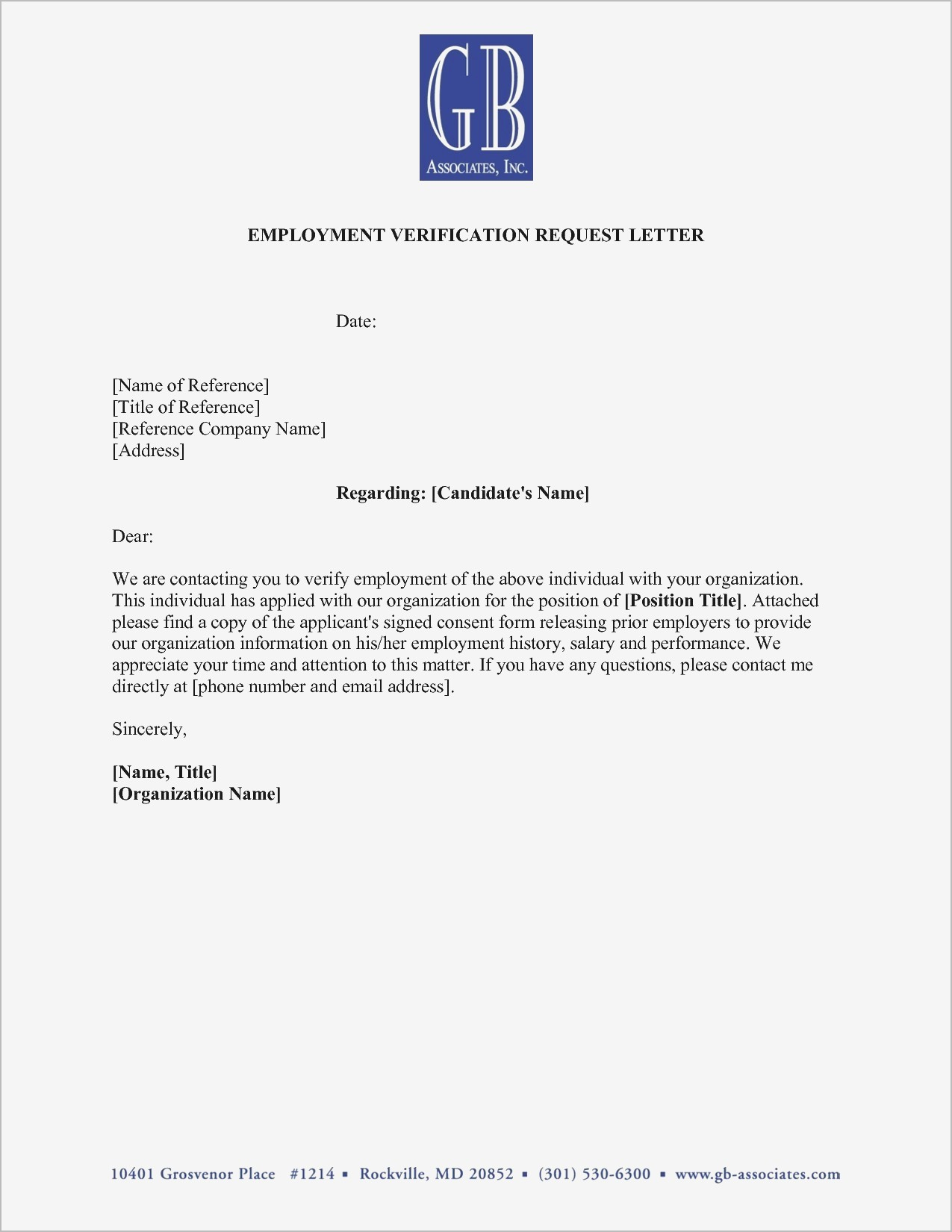 Employment Verification Letter Template Pdf - Employment Verification Letter Sample Doc Samples