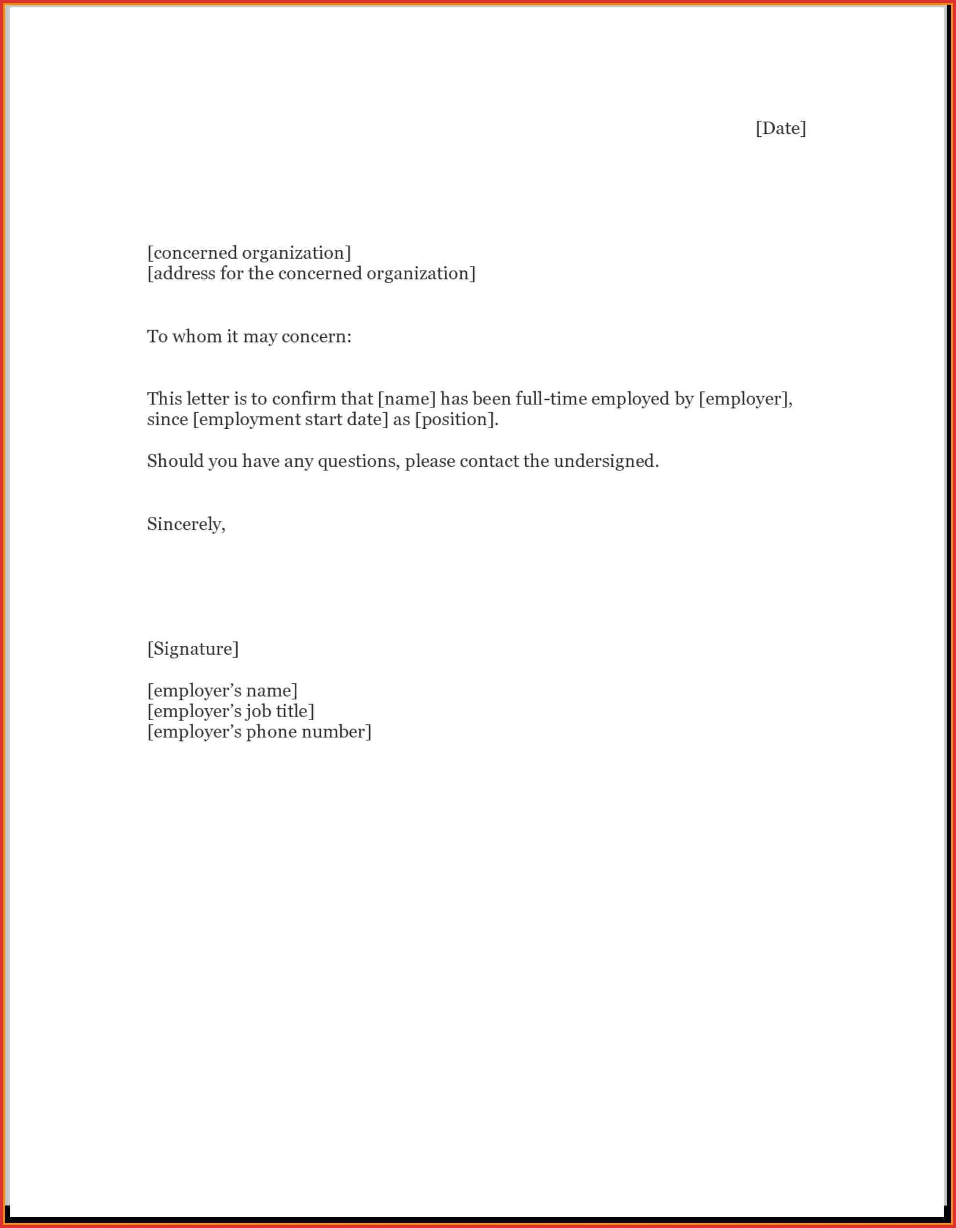 Employment Verification Letter Template | Employment Verification Letter To Whom It May Concern Template
