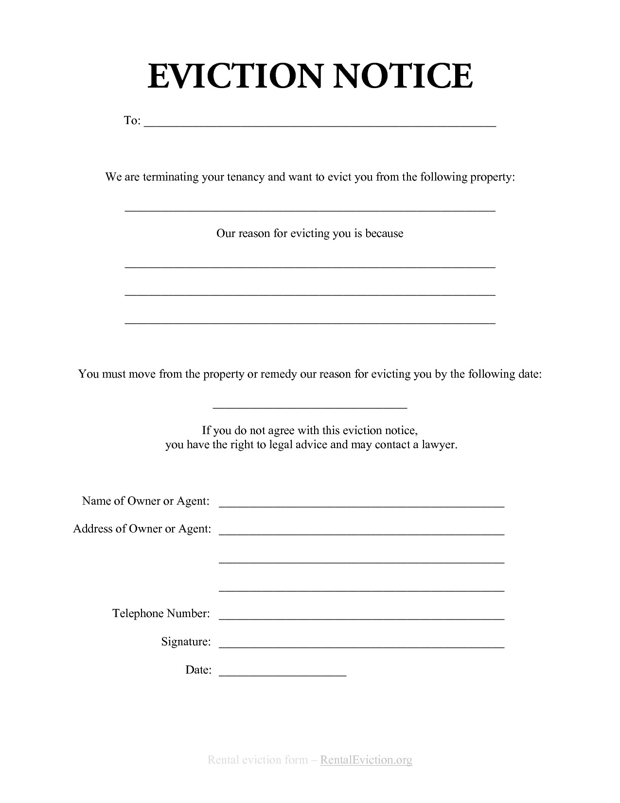 Eviction Notice Letter Template - Eviction Notice Template Alberta Free