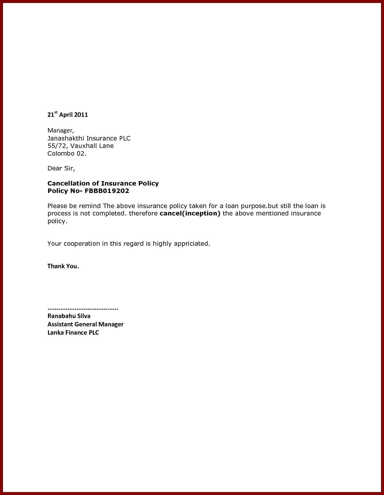 Insurance policy cancellation letter template examples letter insurance policy cancellation letter template example cancellation letter save cancel service letter for expocarfo Gallery