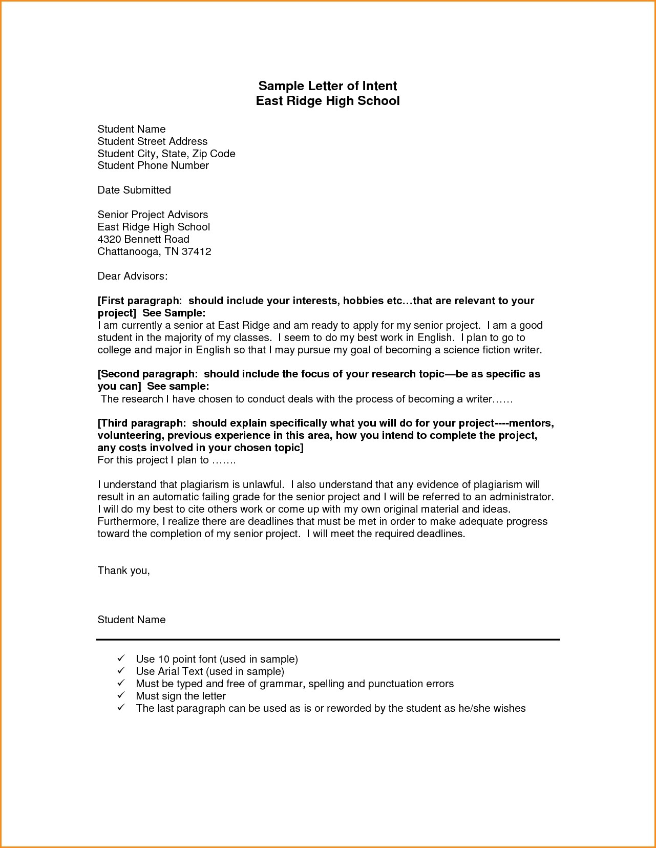 Homeschool Letter Of Intent Template - Example Letter Intent tool S High State Georgia to