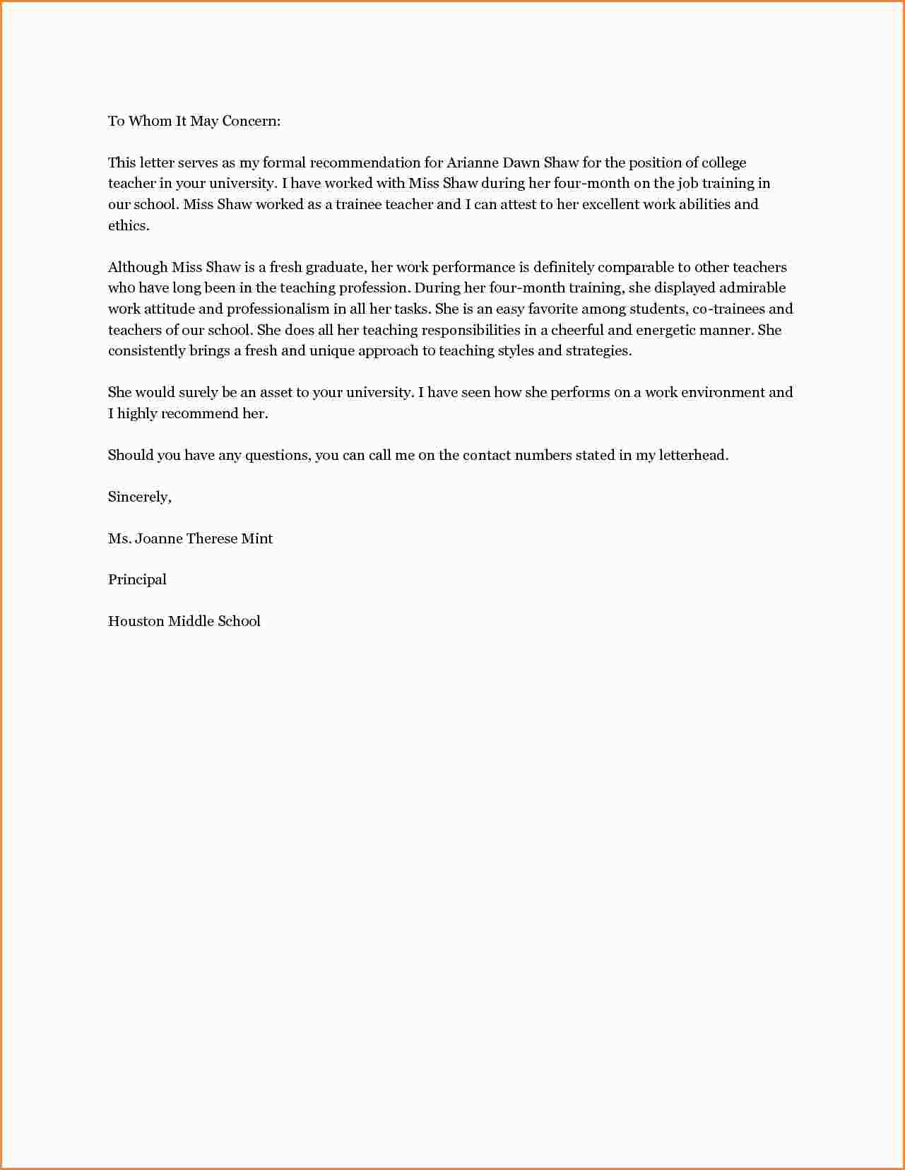 Teacher Reference Letter Template - Example Letter Re Mendation Teacher Copy Best S Teacher Re