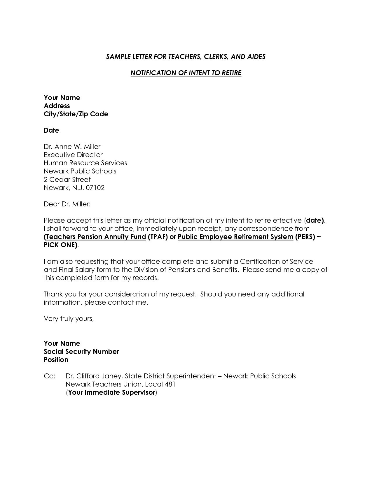 Pension Letter Template - Example Letter Teacher Request New Resignation Application