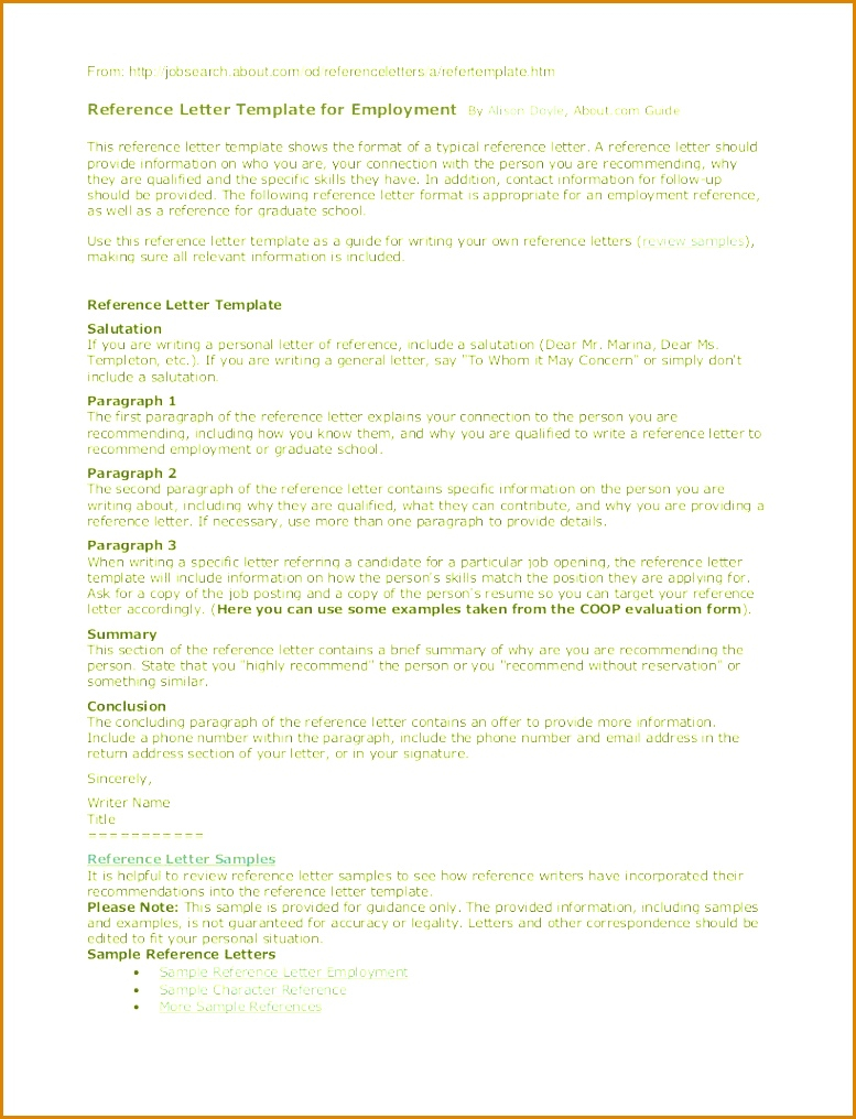 Reference Letter Template From Employer - Example Of Reference Letter for Employee Eczalinf