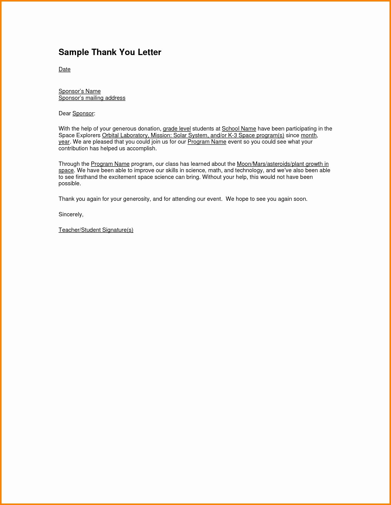 Sponsorship Thank You Letter Template - Example Thank You Letter for Sponsorship New How to Write A