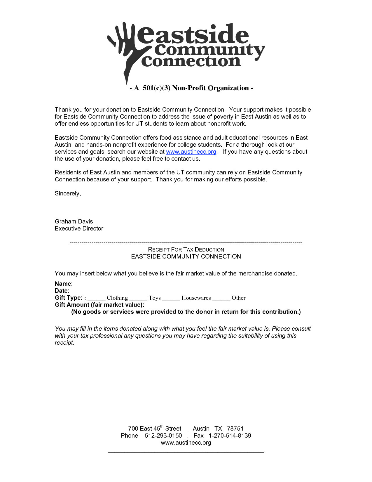 Non Profit Donation Letter Template - Exceptional Tax Donation Letter Template