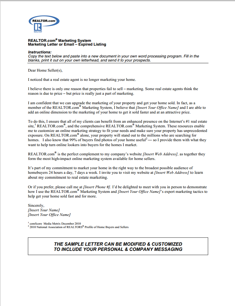 free expired listing letter template example-expired listing letter 19-c