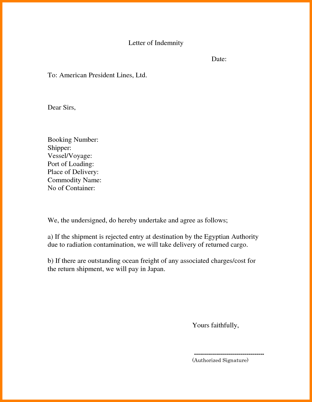Letter Of Indemnification Template - Famous Indemnity form Template Ponent Resume Ideas Namanasa