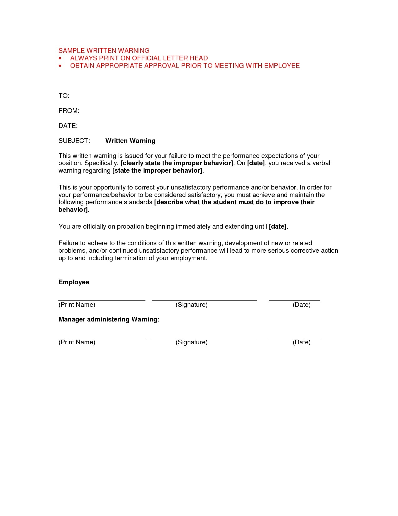 Verbal Warning Letter Template - Ficial Written Warning Template Employee Written Warning Template