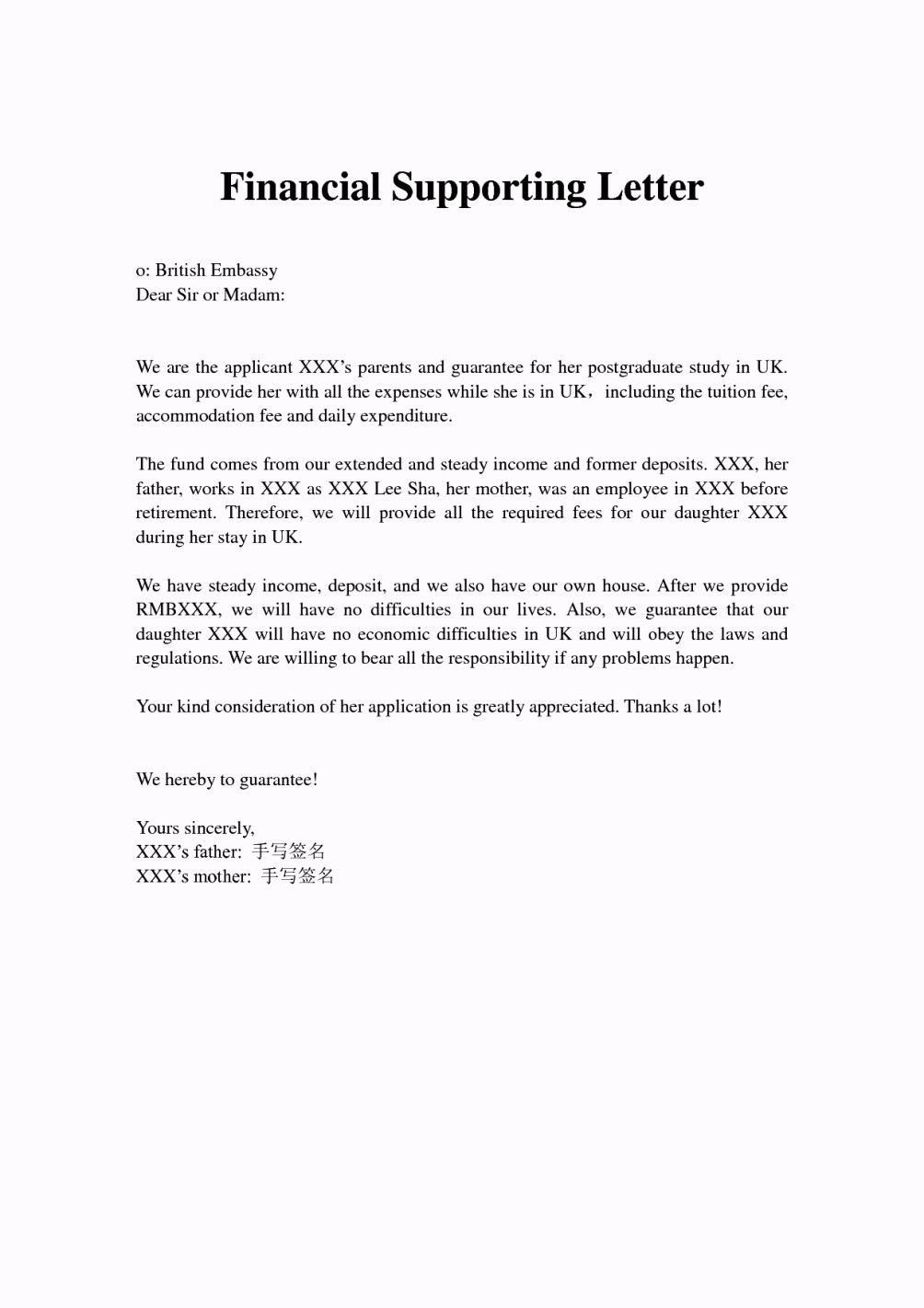 Letter Of Financial Support Template - Financial Support Letter From Parents Letter Pinterest