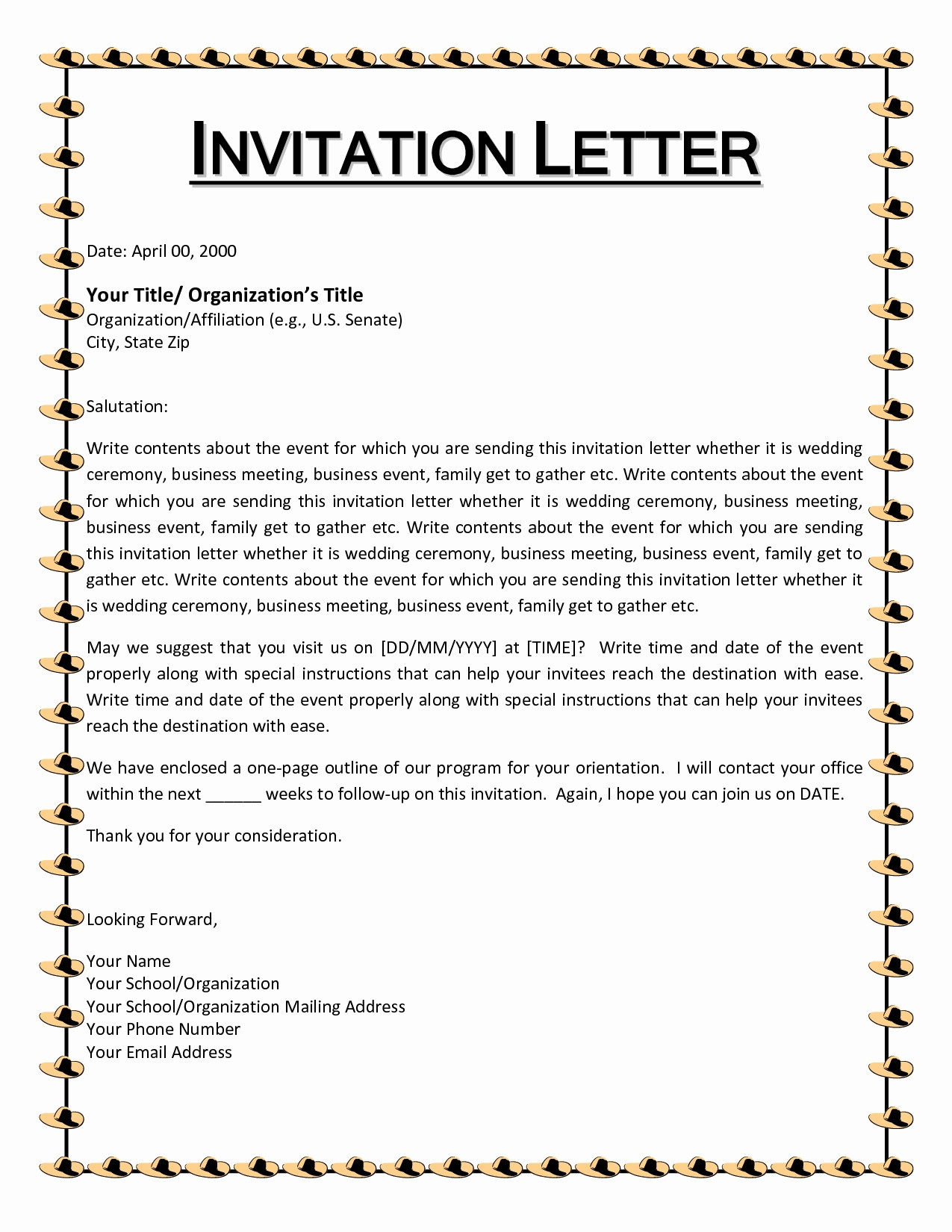 Christmas Party Letter Template Samples