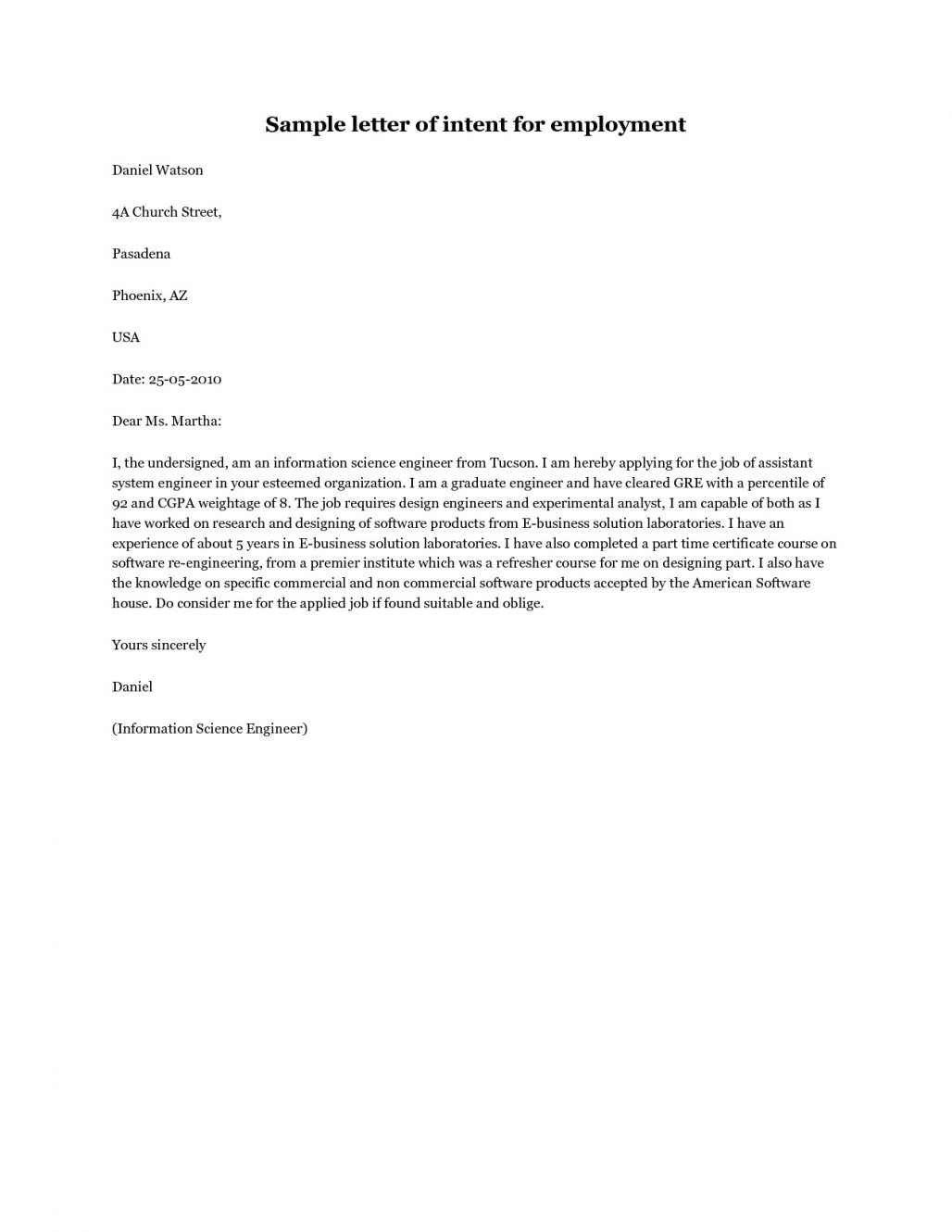 Generic Letter Of Intent Template - form Of Letter Of Intent Acurnamedia
