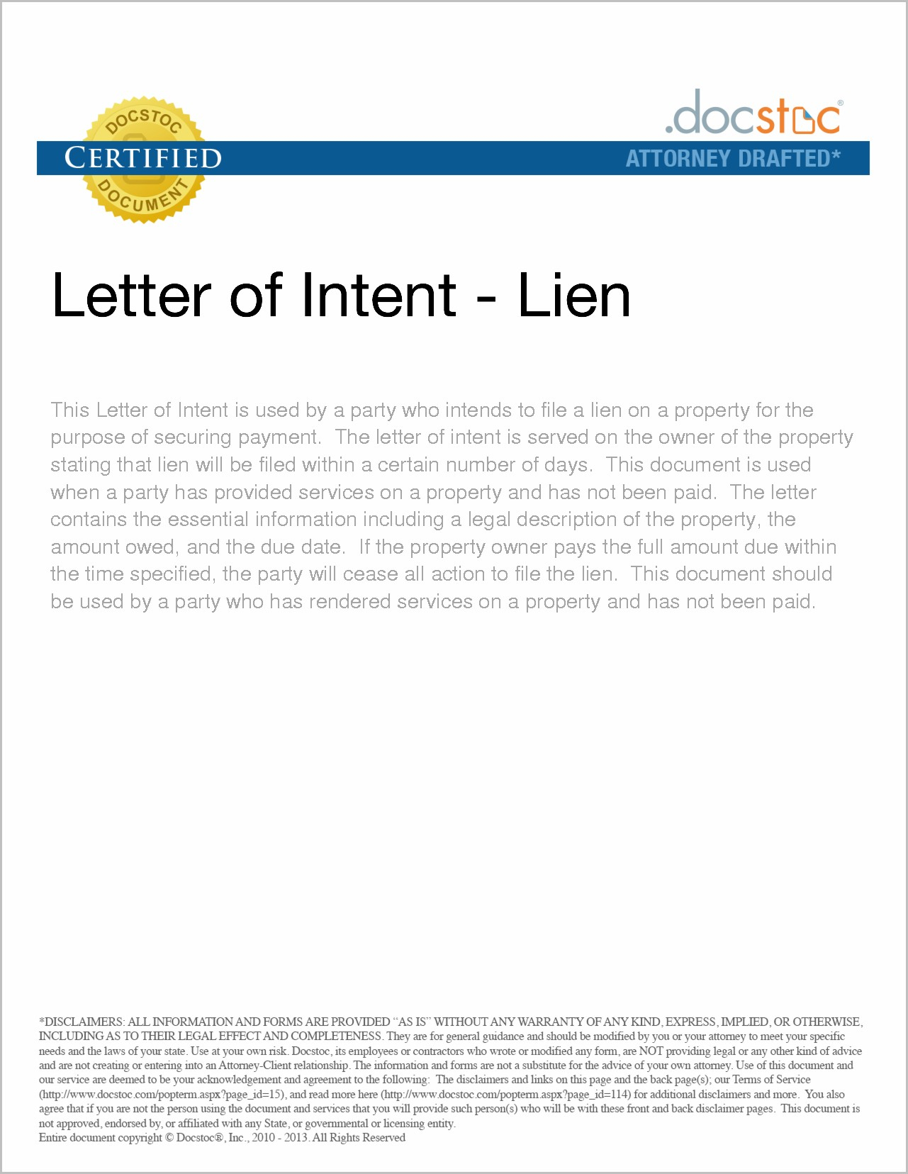 Intent to Lien Letter Template Texas - form Of Letter Of Intent Acurnamedia