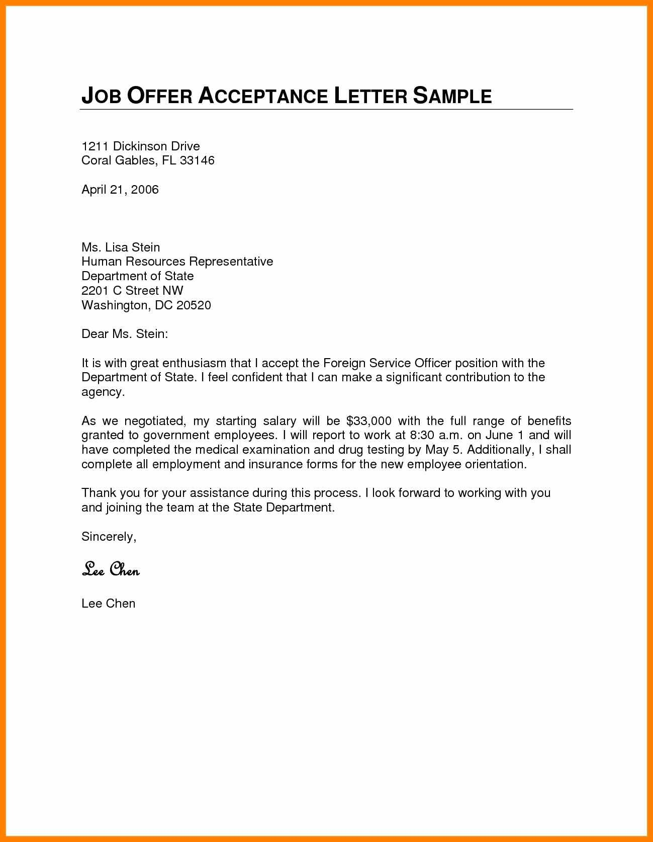 Job Offer Acceptance Letter Template - formal Acceptance Letter for Job Fer New 8 Acceptance Letter