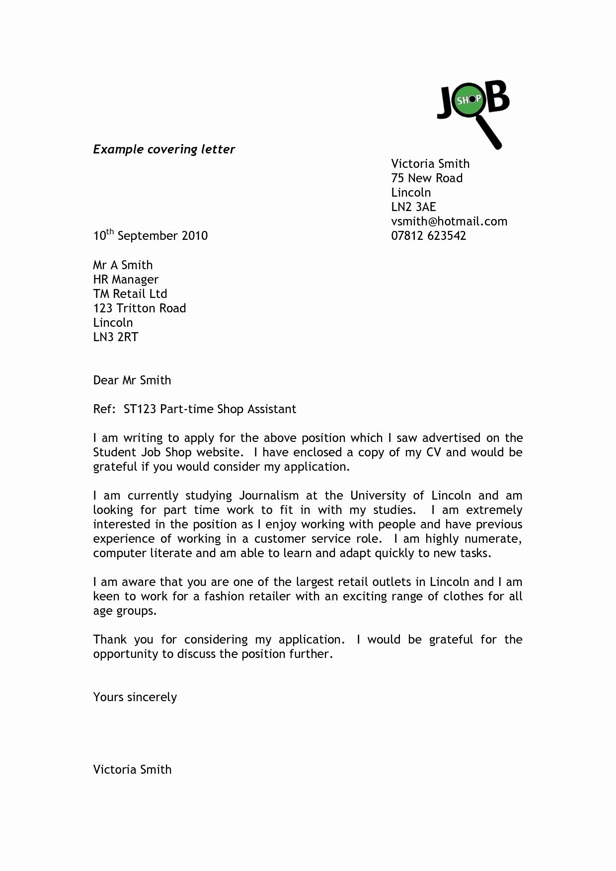 Letter Of Interest for Employment Template - format Covering Letter for Cv