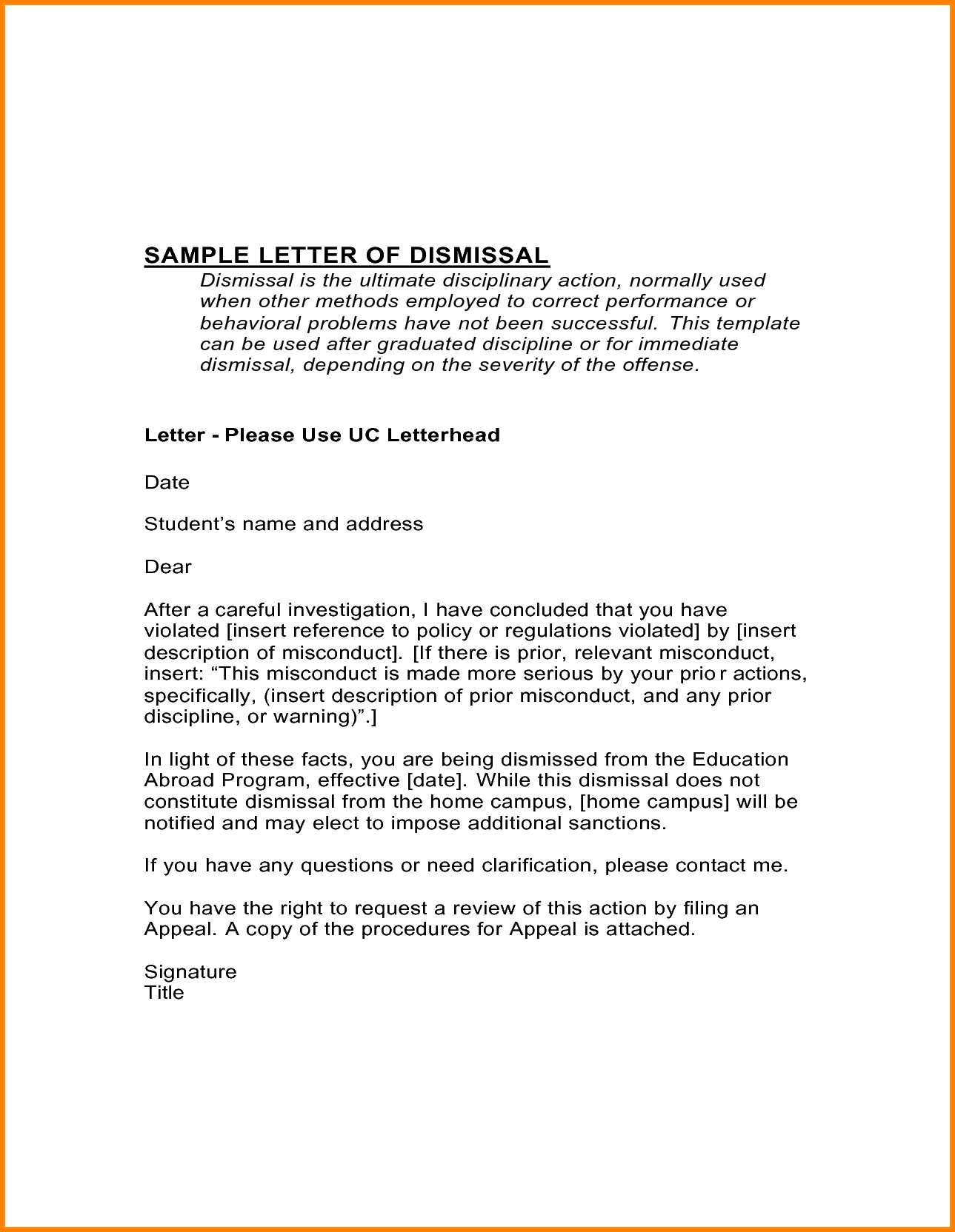 Patient Dismissal Letter for Behavior Template - format for Appeal Letter to University Best 9 Dismissal Appeal