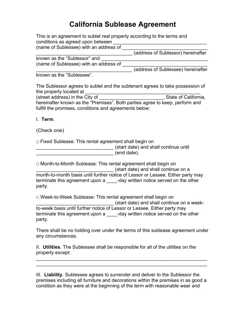 Month to Month Lease Termination Letter Template - Free California Sublease Agreement Template Pdf Word
