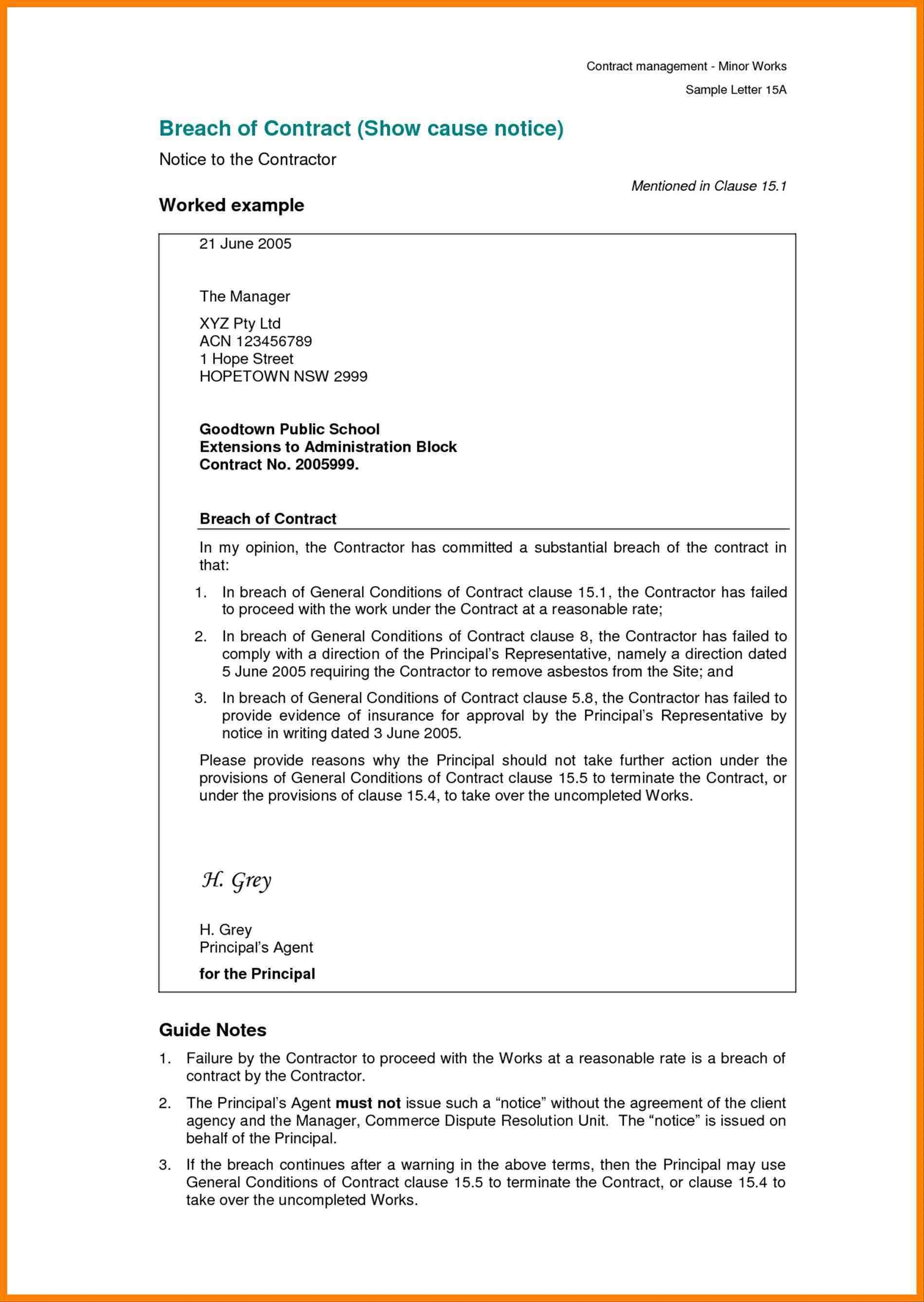Free Breach Of Contract Letter Template Examples | Letter Cover