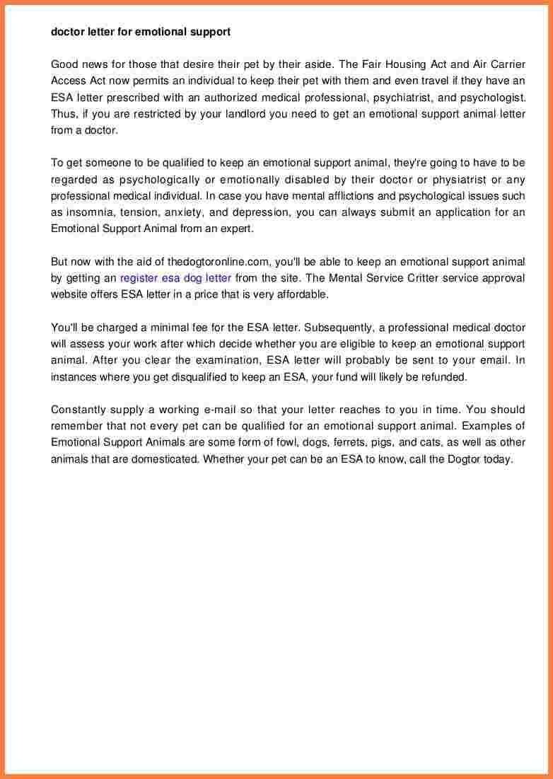 Esa Travel Letter Template - Free Cover Letter Templates Can A Physician Write An Esa Letter