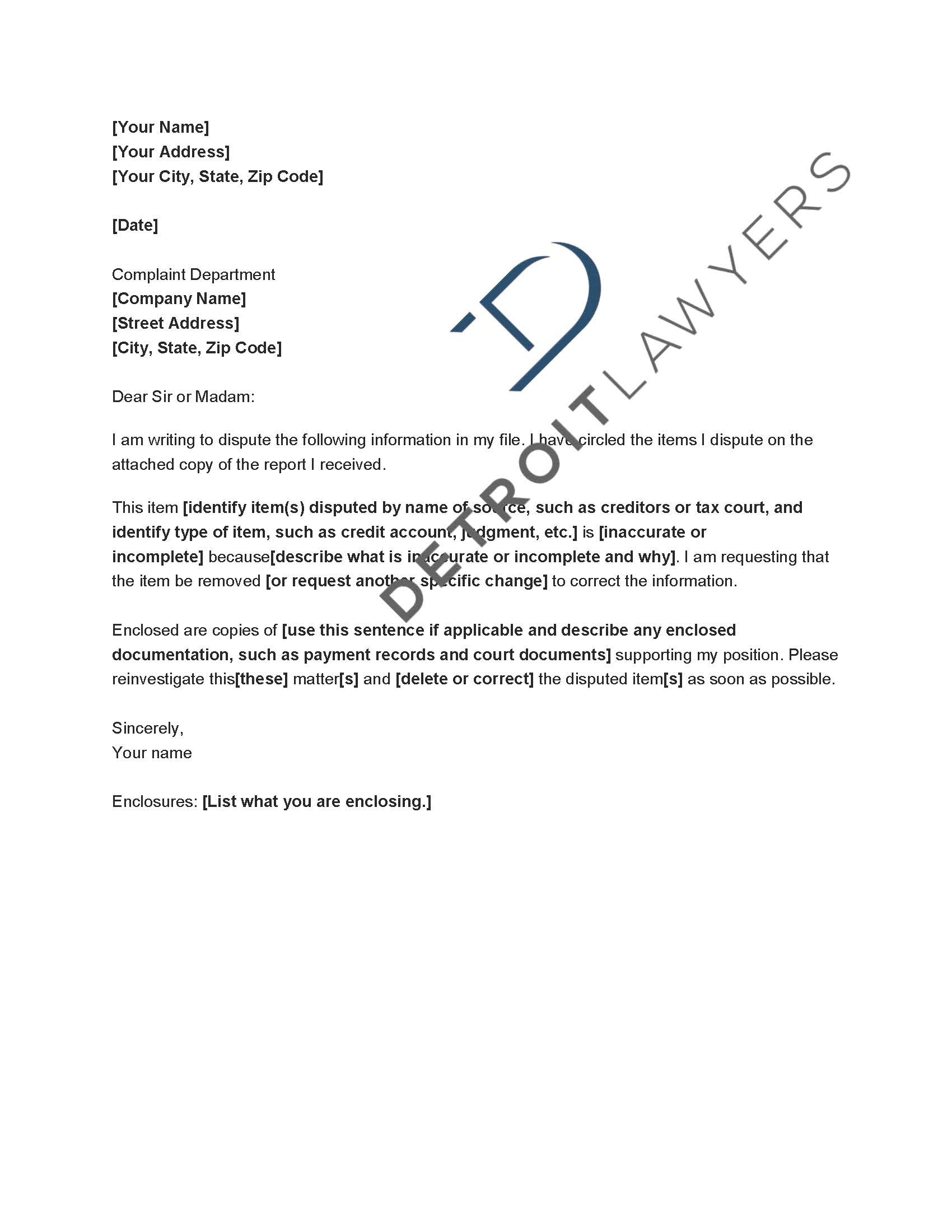 Experian Dispute Letter Template - Free Cover Letter Templates Letter to Creditors