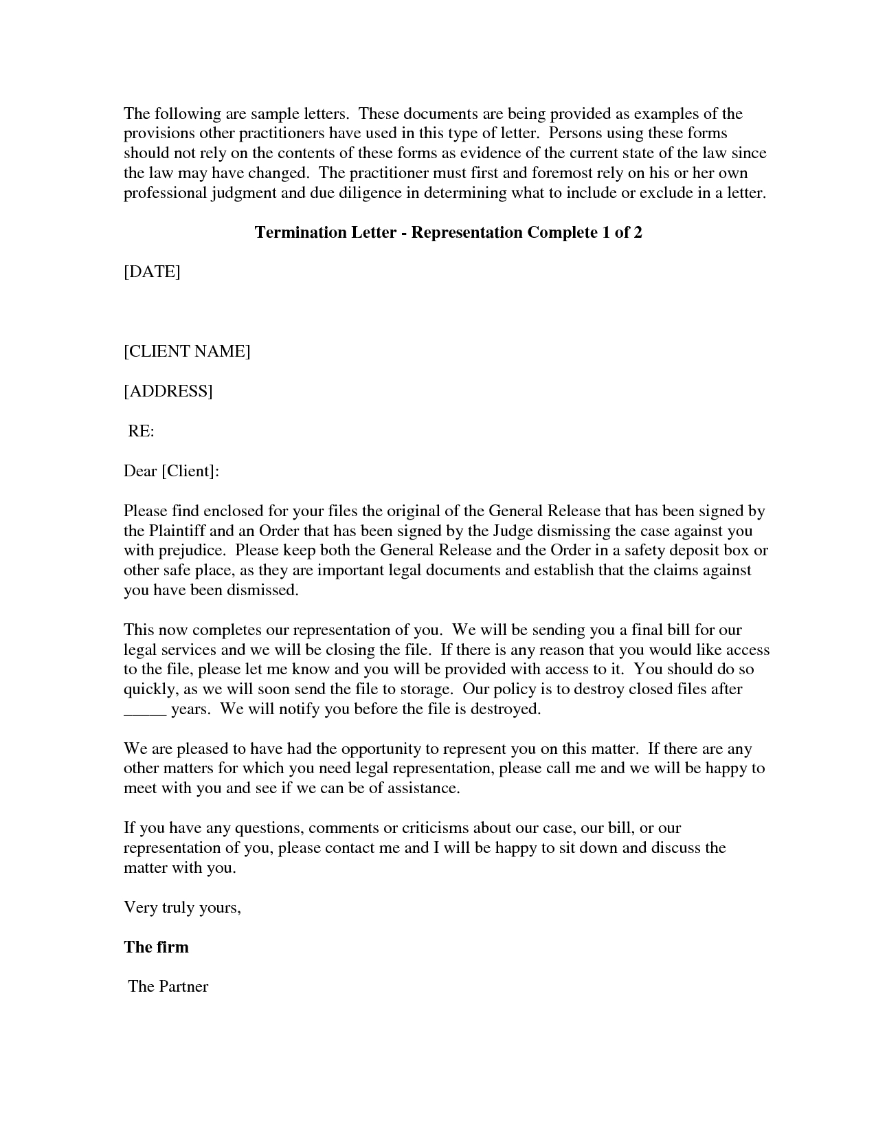 Attorney Termination Letter Template - Free Cover Letter Templates Sample attorney Termination Letter