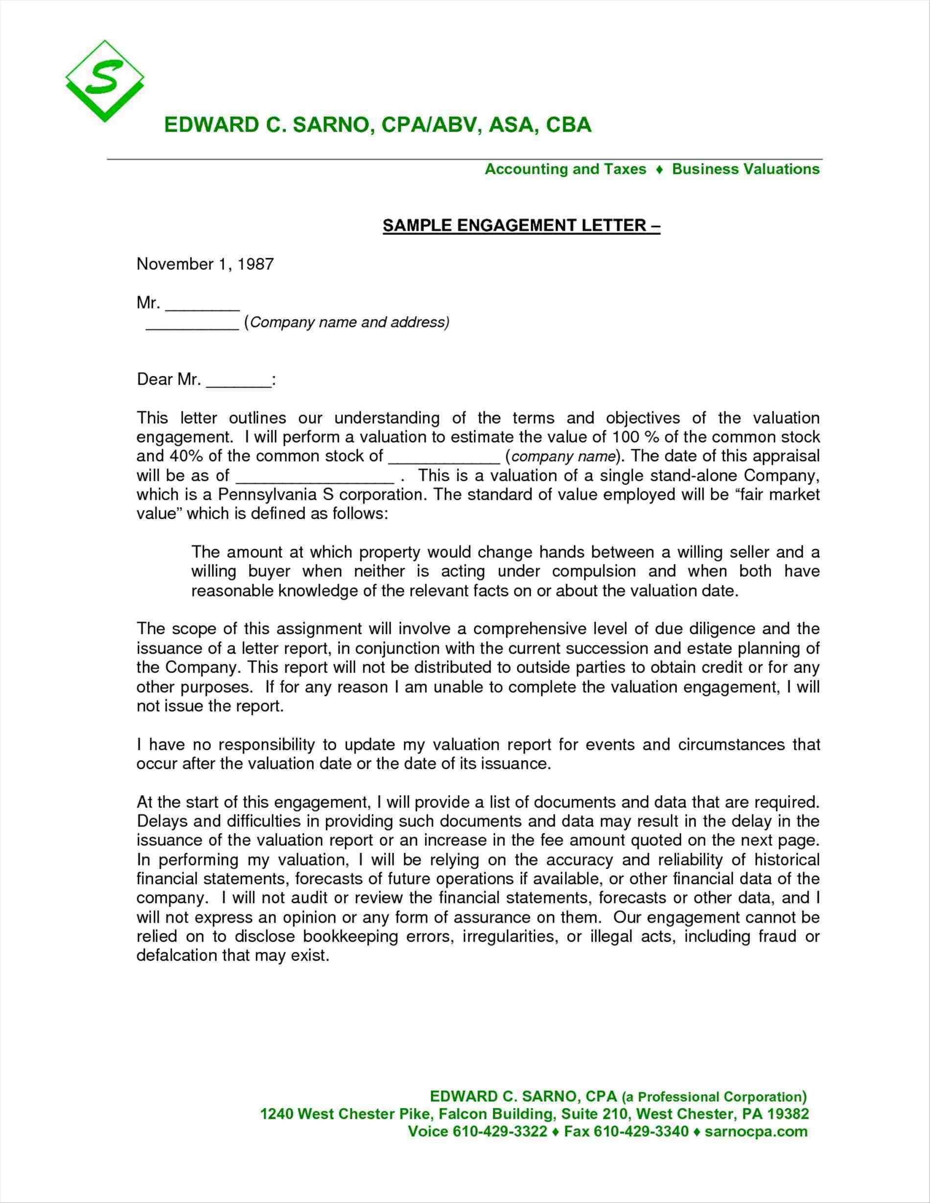 Business Valuation Engagement Letter Template Examples | Letter
