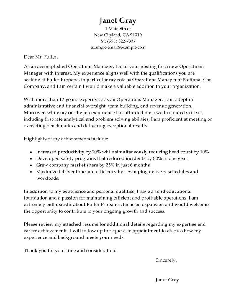 Operations Manager Cover Letter Template - Free Cover Letter Templates Store Manager Cover Letter